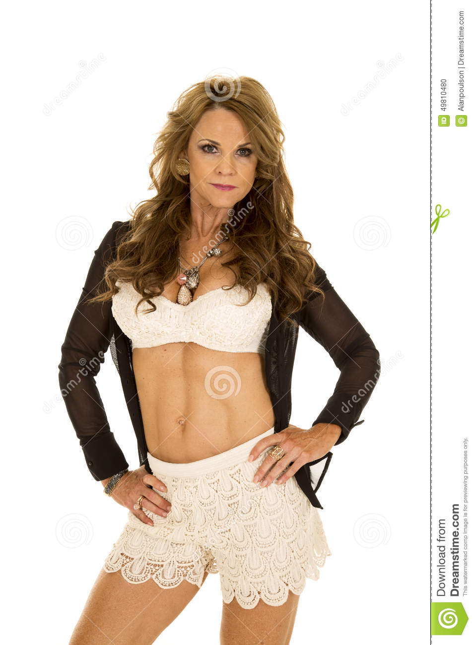older woman lace bra hands hips stock photo - image of high, close