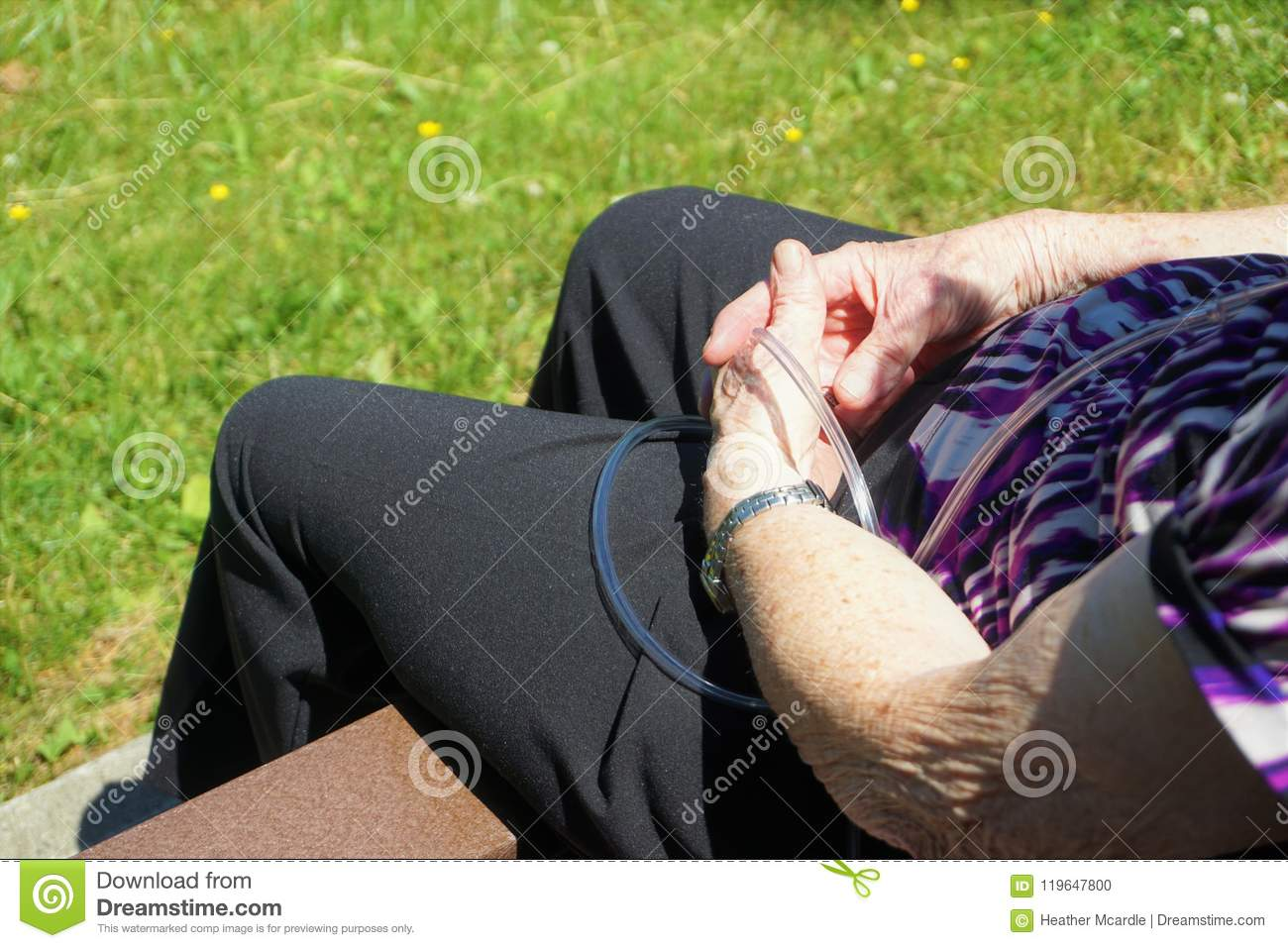 Elderly Female Rests On A Composite Park Bench Silver Watch Clear Plastic Tubing Transmitting O2 And Black Pants With Green Summer Grass