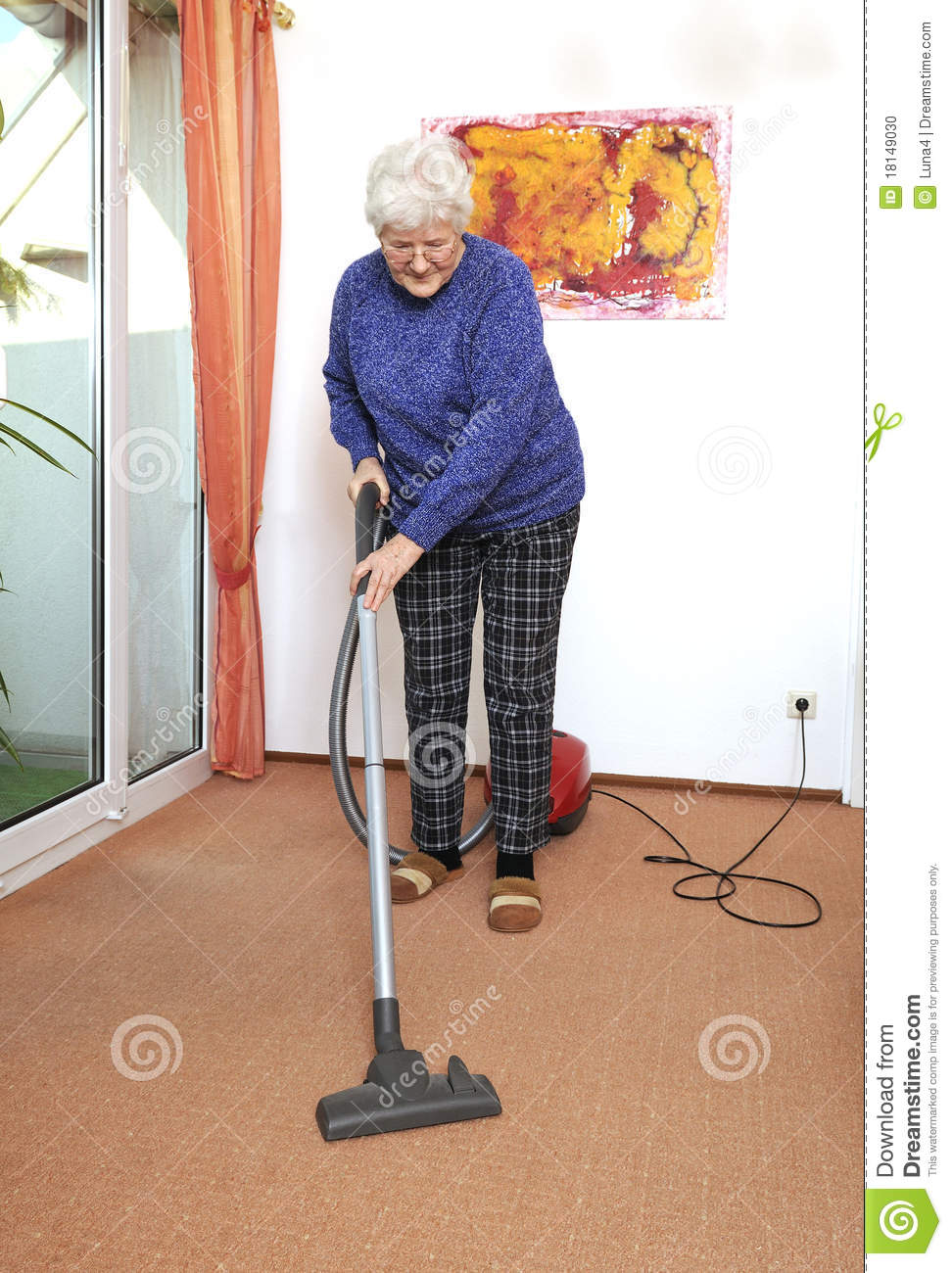 Older Woman With Vacuum Cleaner Stock Photo Image 18149030