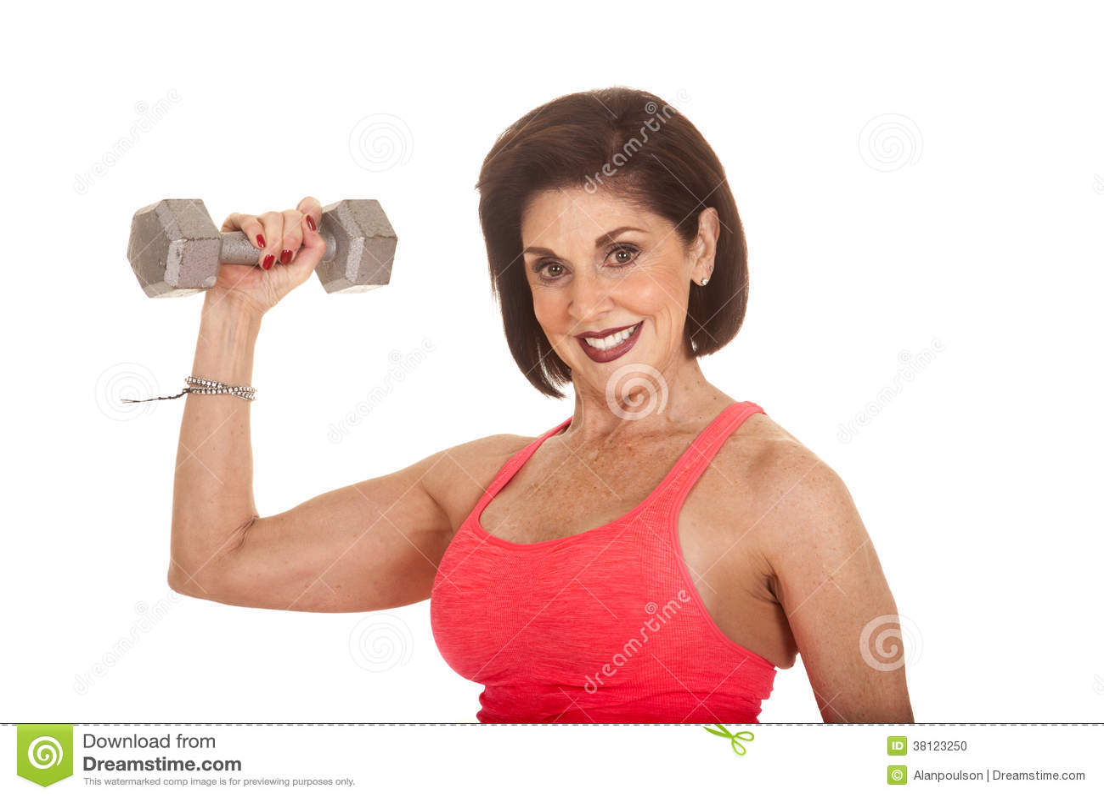 Mature woman flex muscles