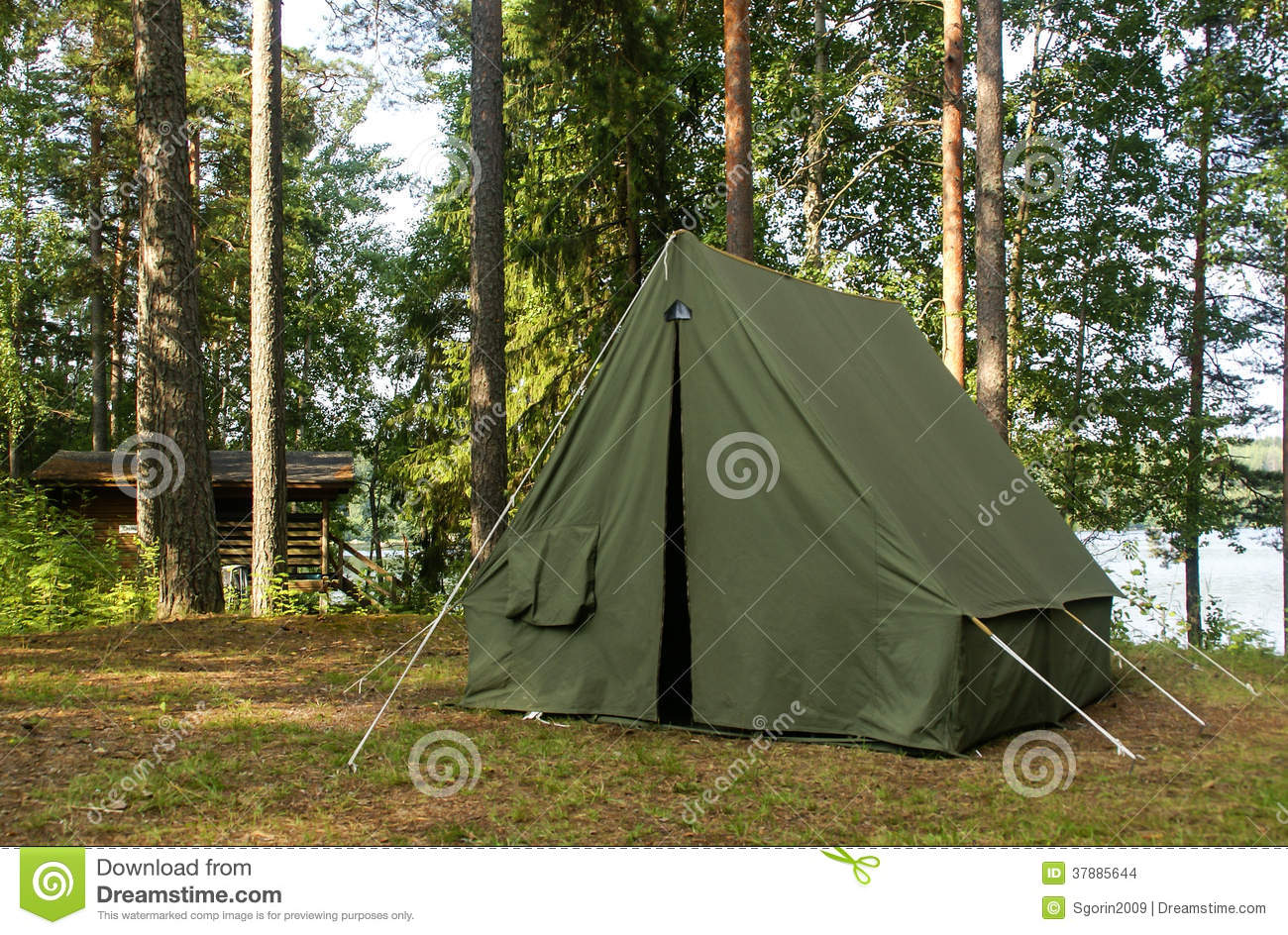 Oldschool soviet tent in nothern forest & Oldschool Soviet Tent In Nothern Forest Stock Photo - Image of ...