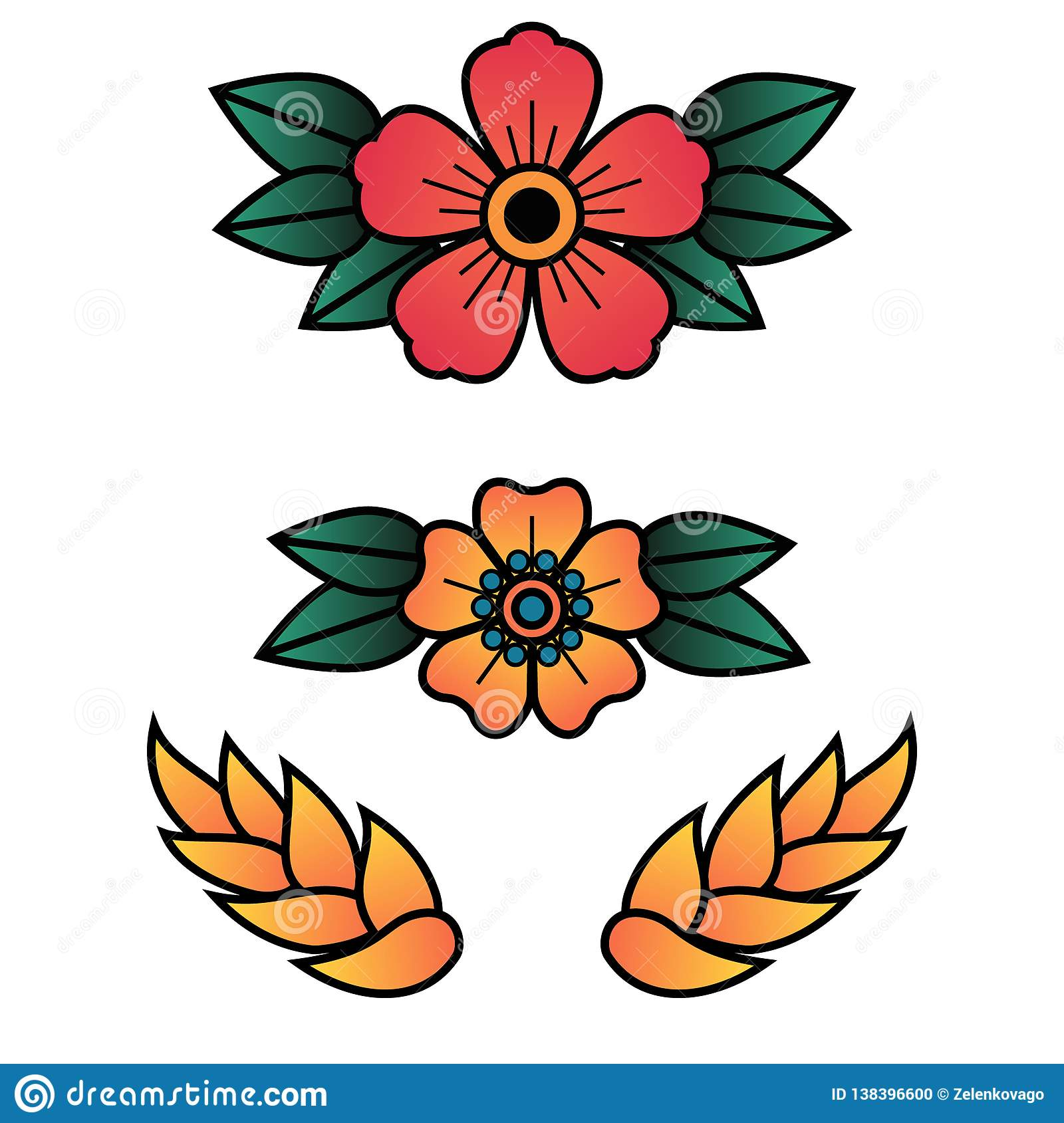 6ec41ecd0 Oldschool Traditional Tattoo Vector Flowers With 5 Petals Stock ...
