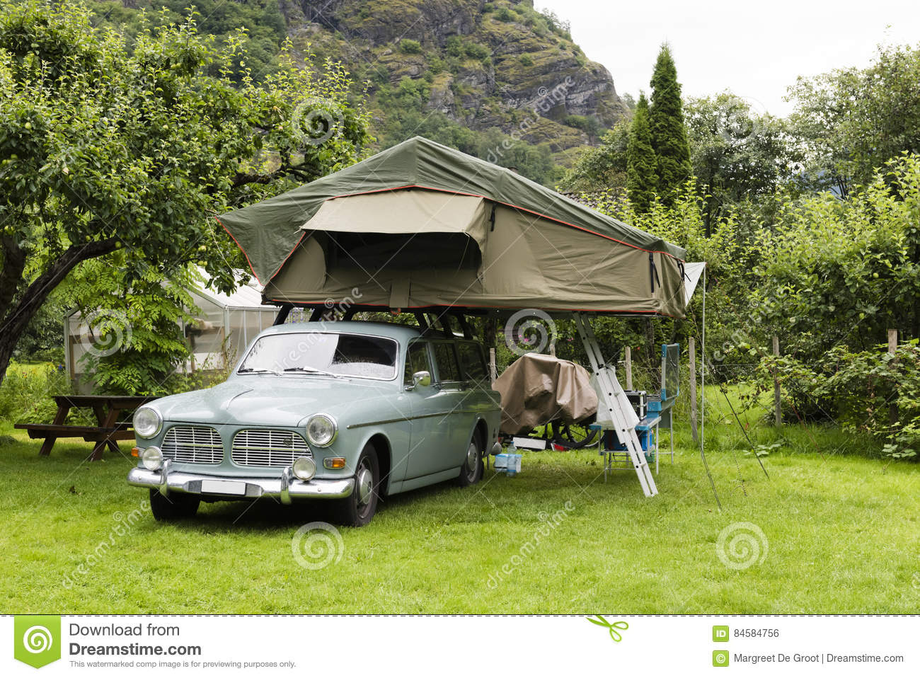 Oldtimer With Tent In Roof