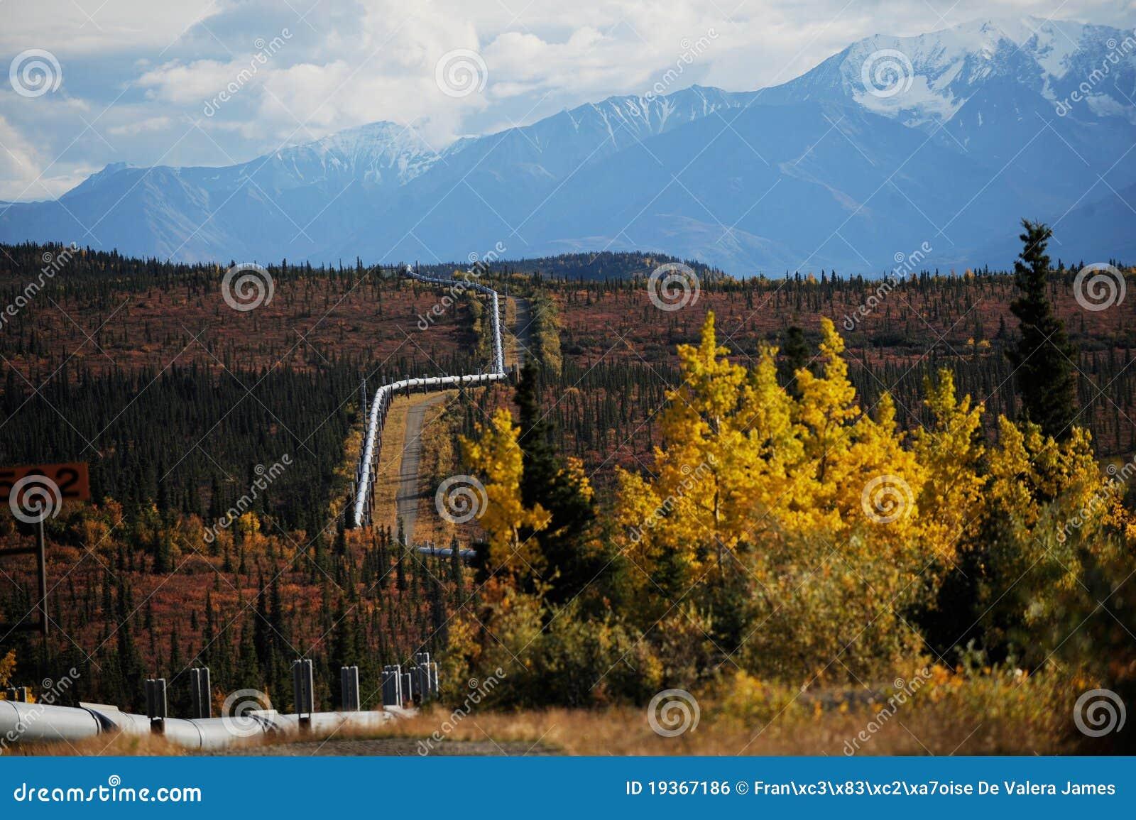 Oleoduto de Transporte-Alaska com o nevado mountained