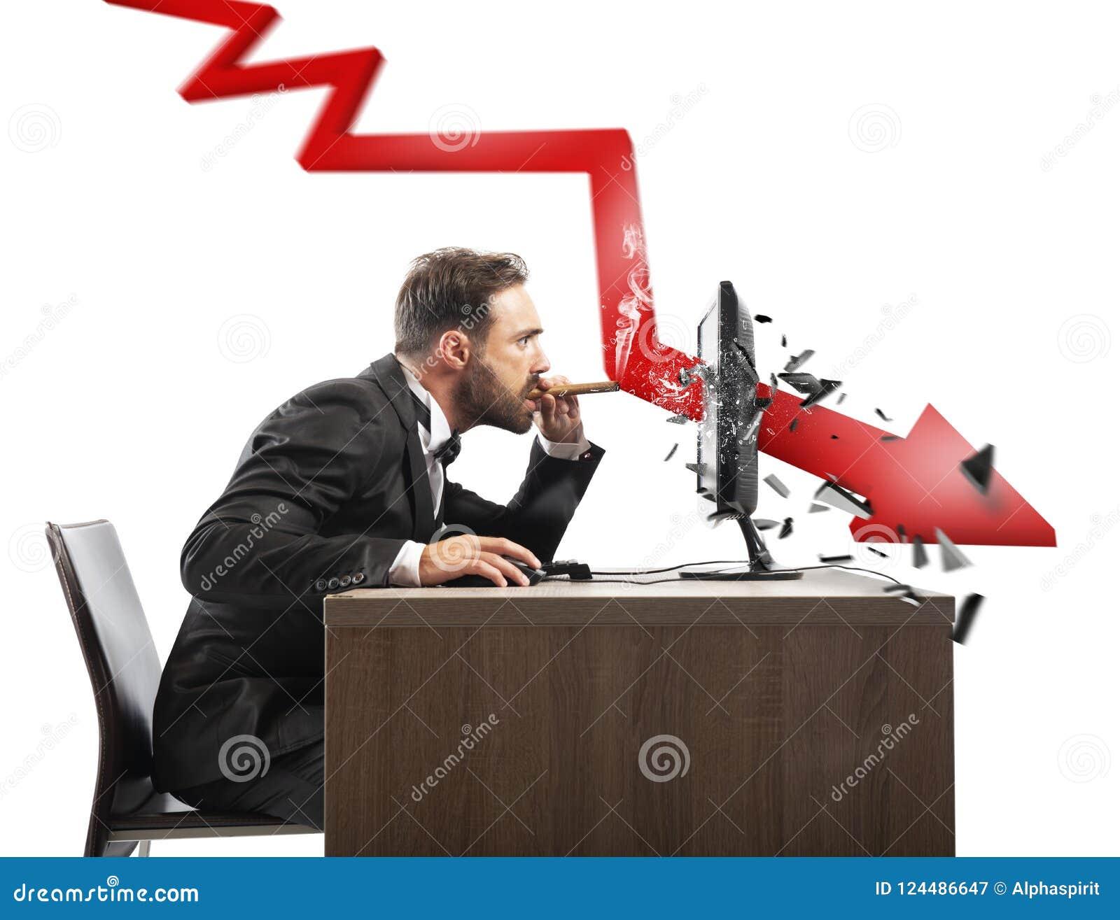 Olhar do homem de negócios o relatório negativo de sua empresa Uma seta vermelha quebra a tela