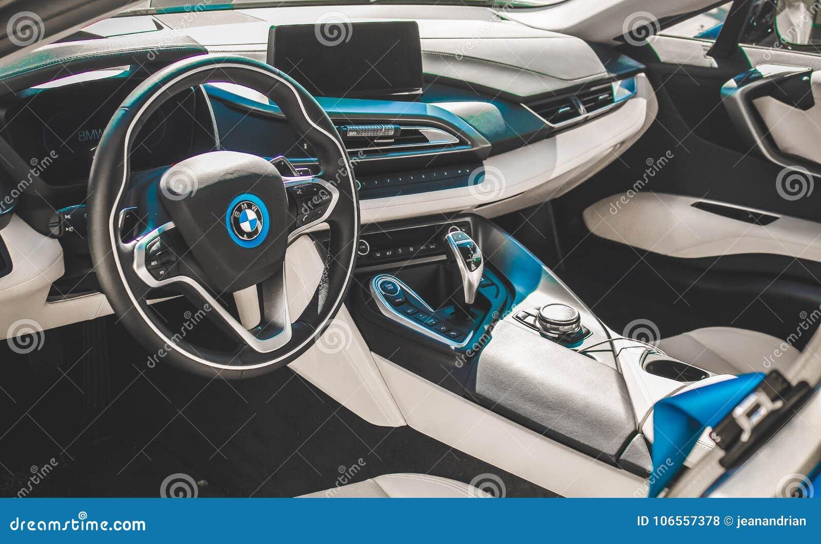 olhar interior do carro desportivo de bmw i8 foto tomada. Black Bedroom Furniture Sets. Home Design Ideas