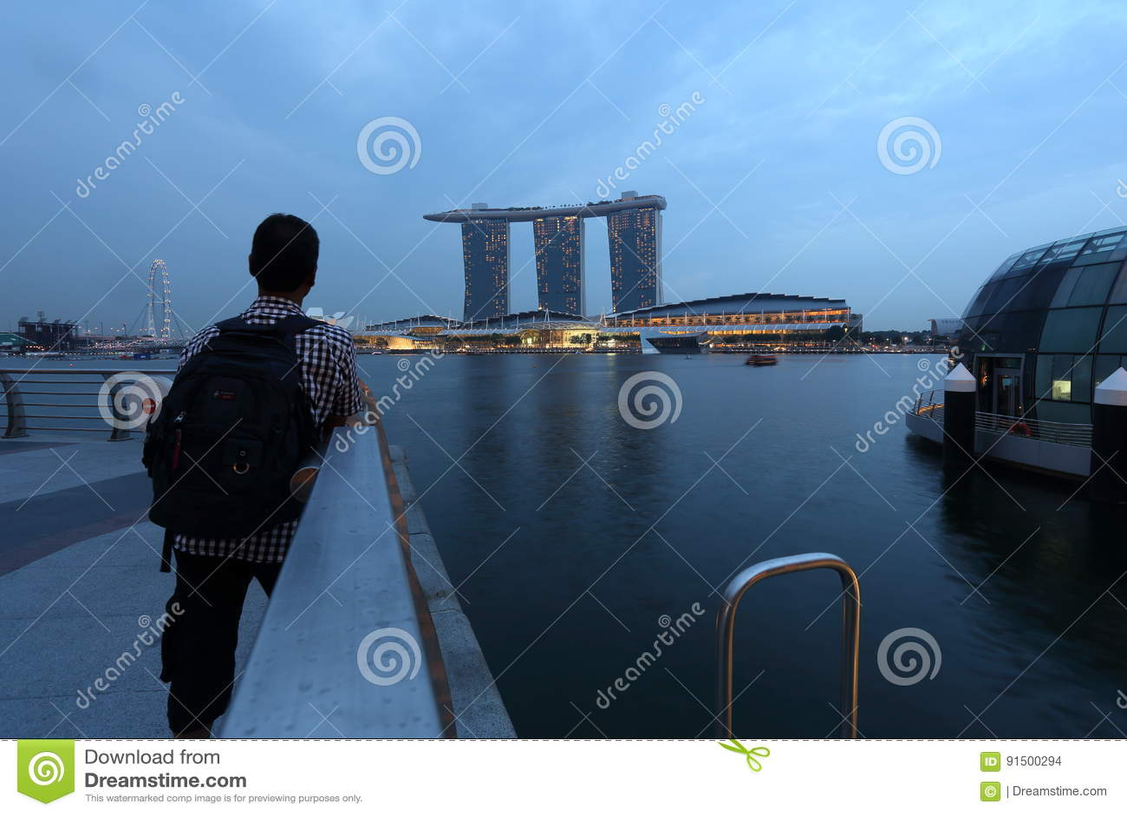 Olhe A Vista Marina Bay Sands Singapore Imagem de Stock Editorial