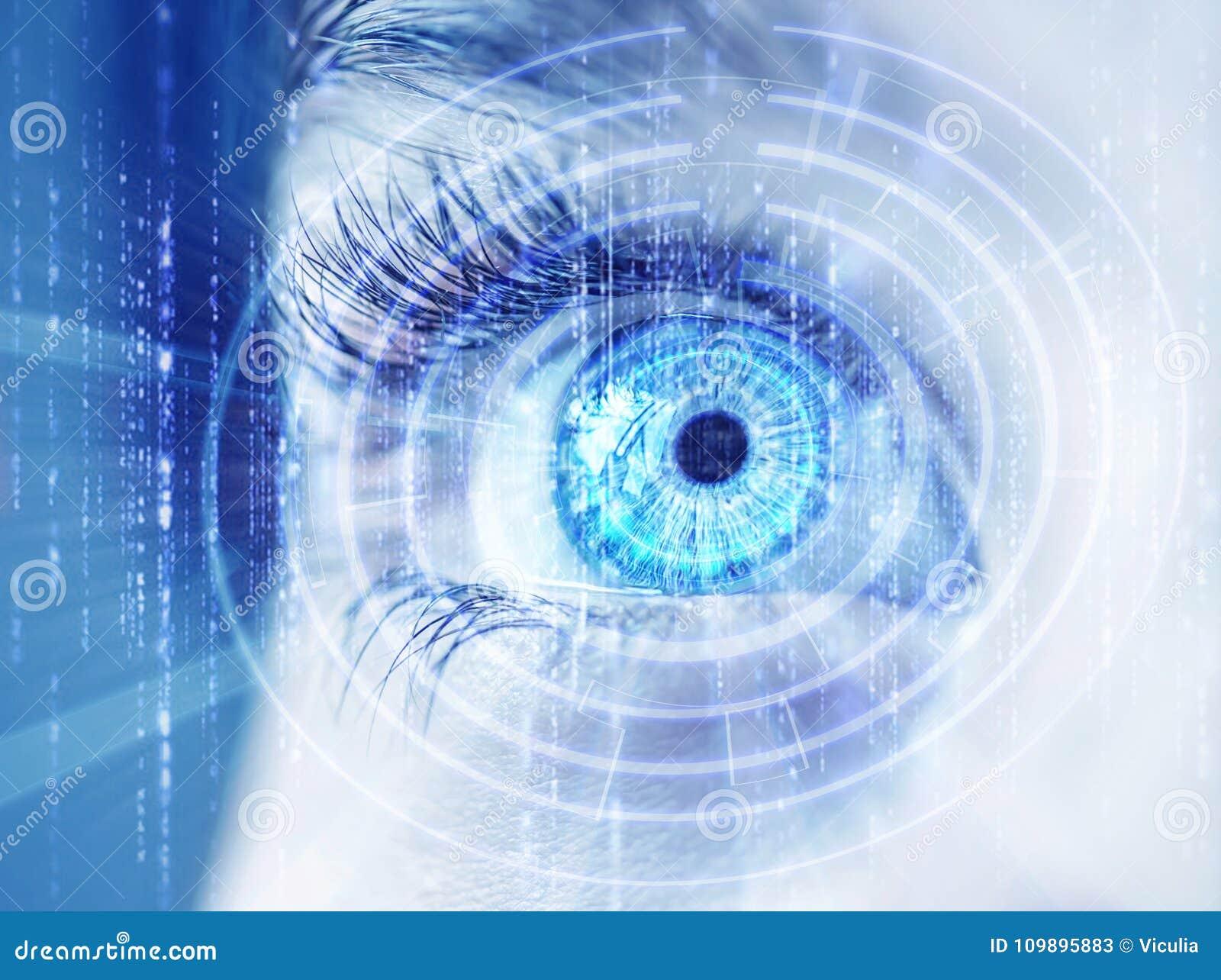 Olho abstrato com círculo digital Ciência futurista da visão e conceito da identificação