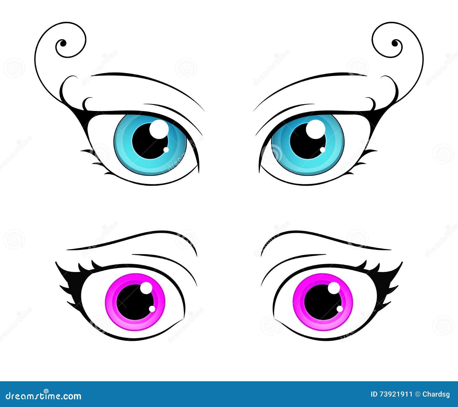 Olho Da Femea Do Estilo Dos Desenhos Animados Olhos Brilhantes Coloridos Ilustracao Do Vetor Ilustracao De Femea Olho 73921911