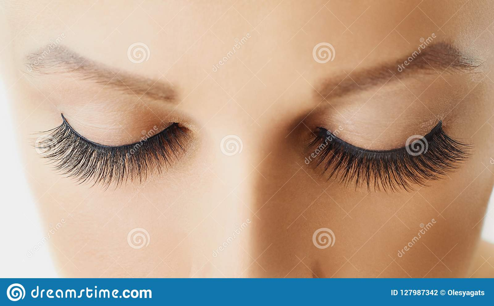Olho fêmea com as pestanas falsas longas extremas Extensões, composição, cosméticos, beleza e cuidados com a pele da pestana