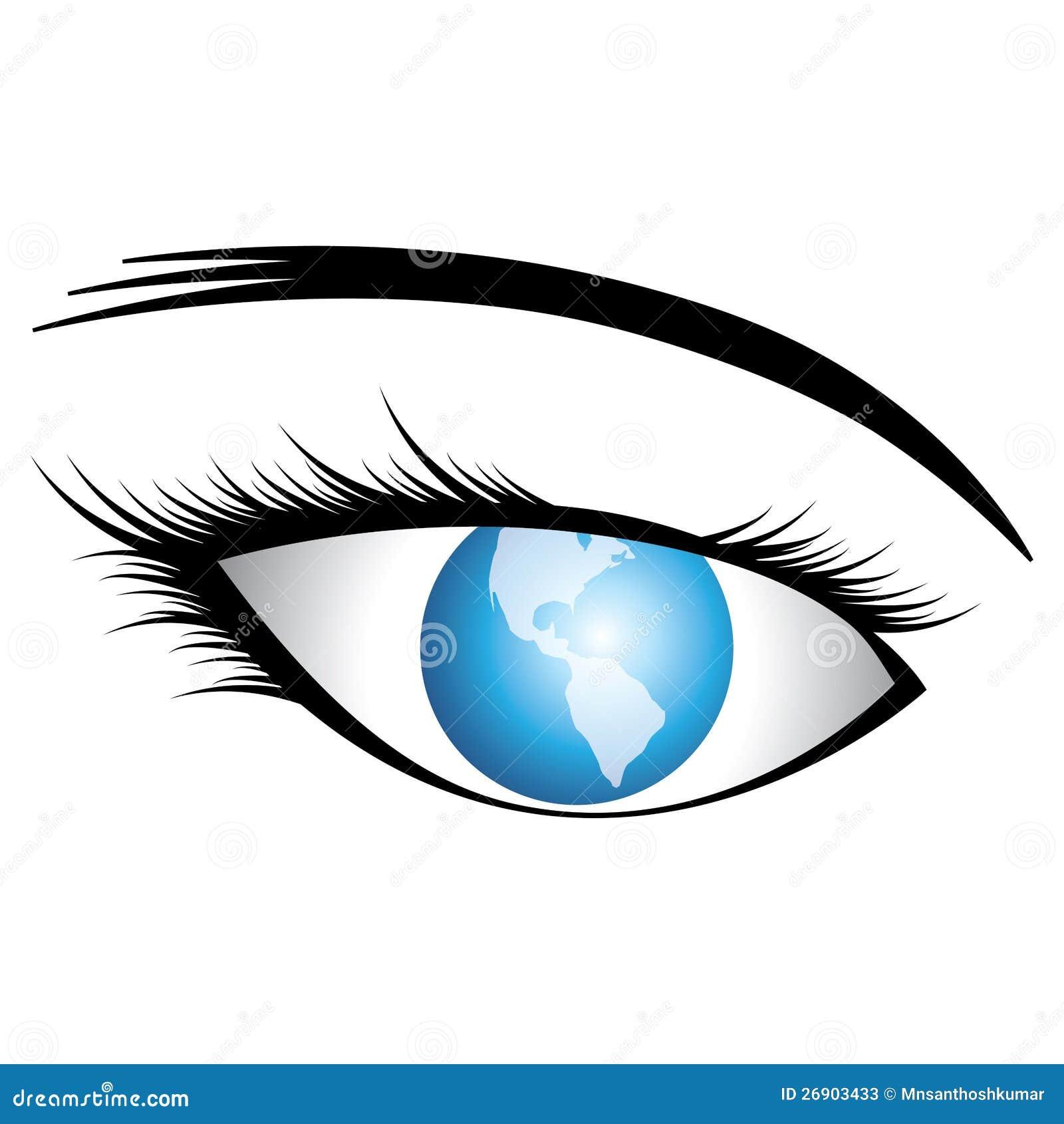 Olho humano bonito (da menina) com o mundo como a íris