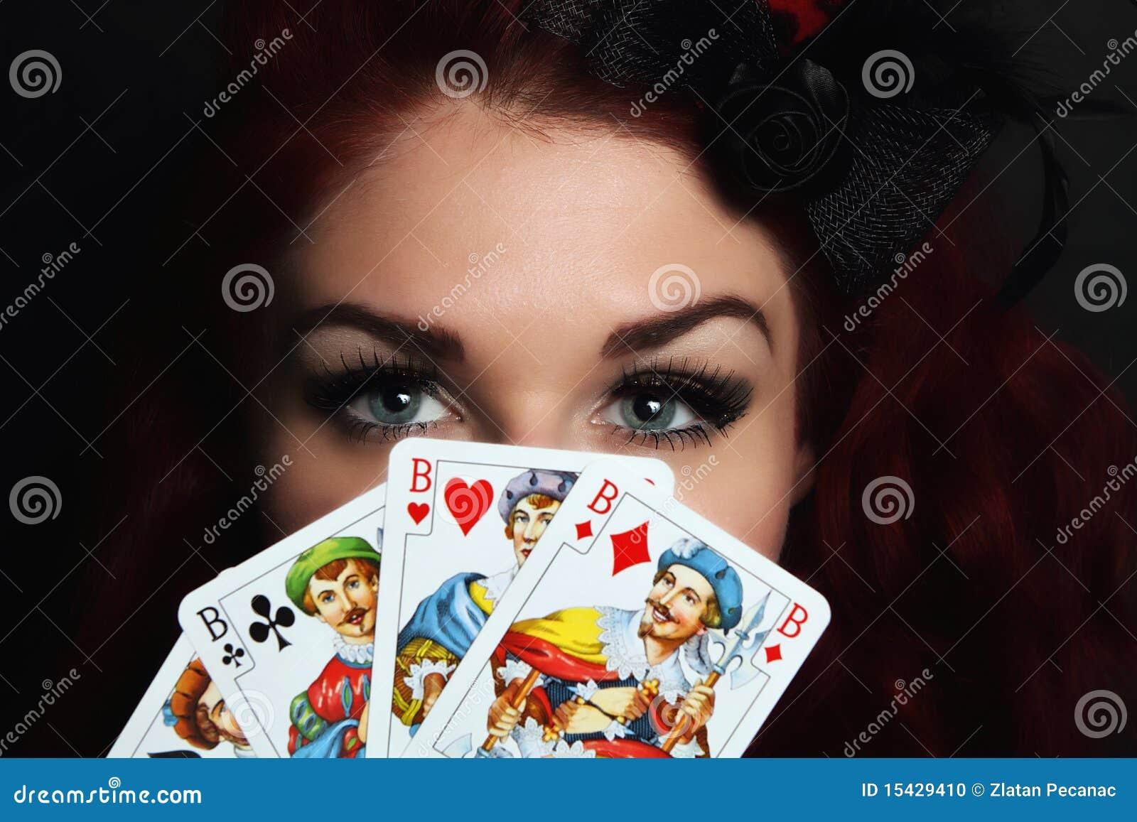 Olhos e cartões de jogo