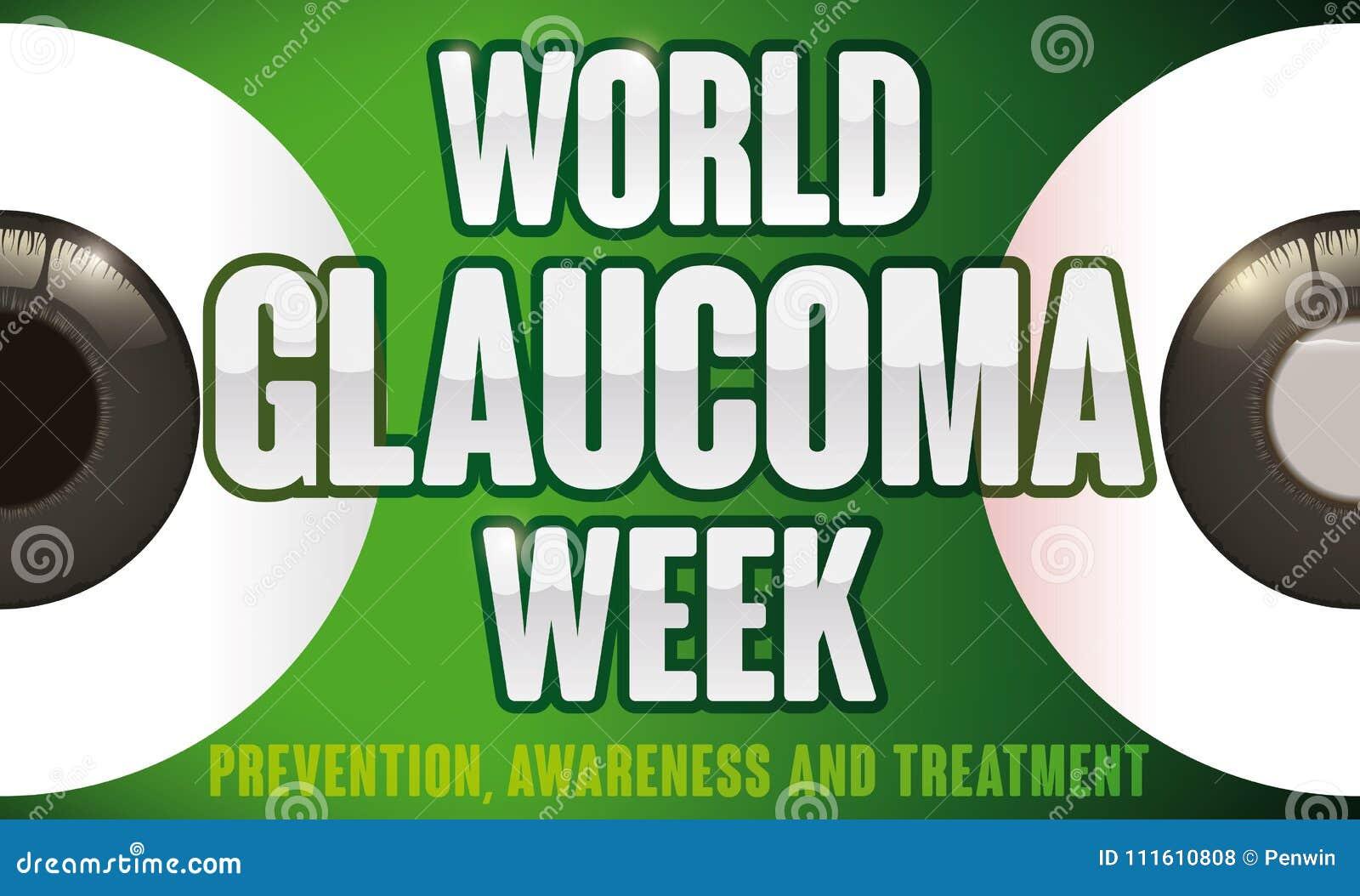 Olhos saudáveis e doentes a impedir na semana da glaucoma do mundo, ilustração do vetor