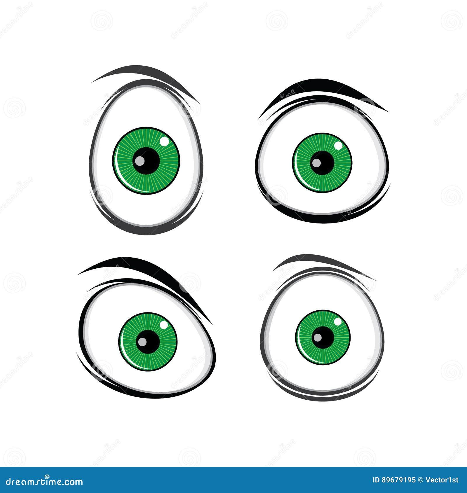 Olhos Verdes Dos Desenhos Animados Ilustracao Do Vetor