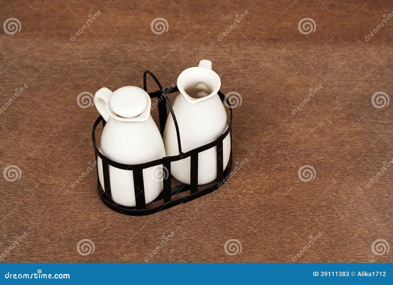 Olie en azijnflessen