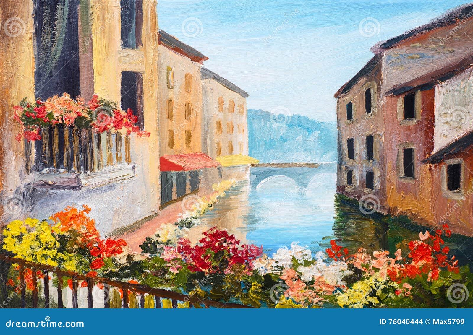 Olieverfschilderij, kanaal in Venetië, Italië, beroemde toeristenplaats