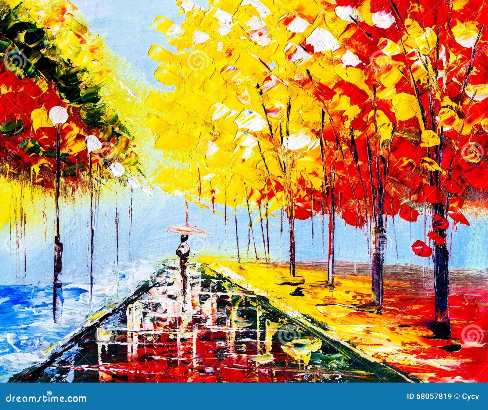 Olieverfschilderij - Kleurrijke Regenachtige Nacht