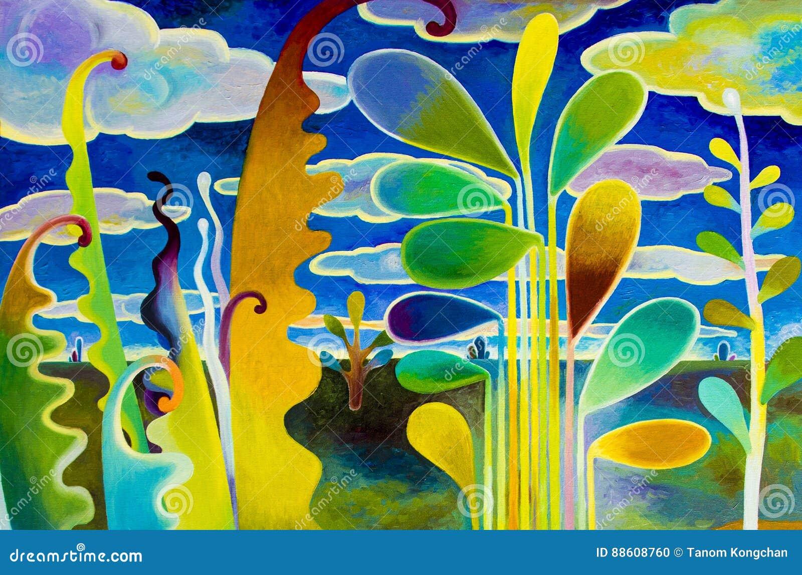 Olieverfschilderijlandschap op canvas kleurrijk van abstracte tuinmening