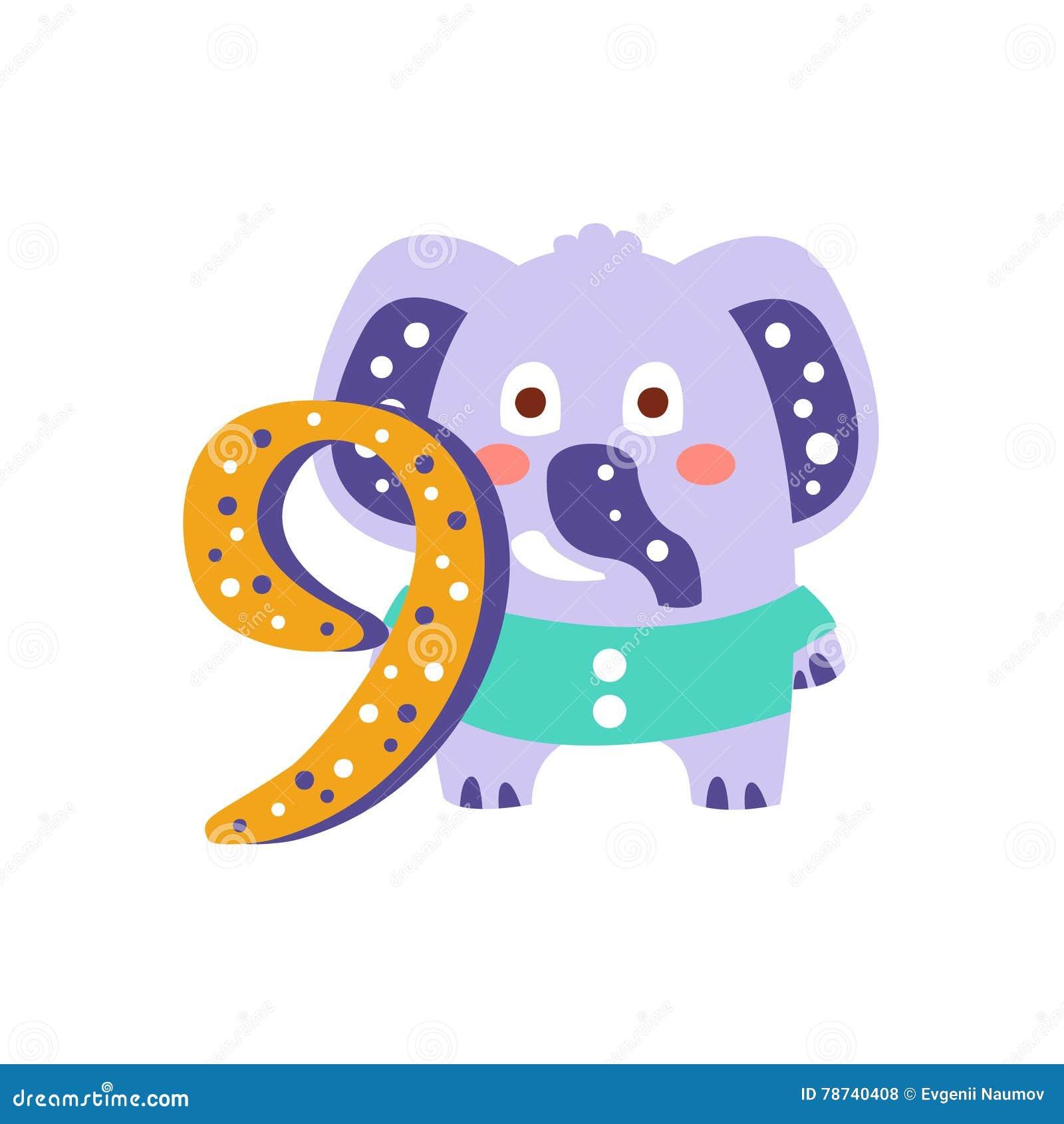 Olifant die zich naast Nummer Negen Gestileerd Funky Dier bevinden
