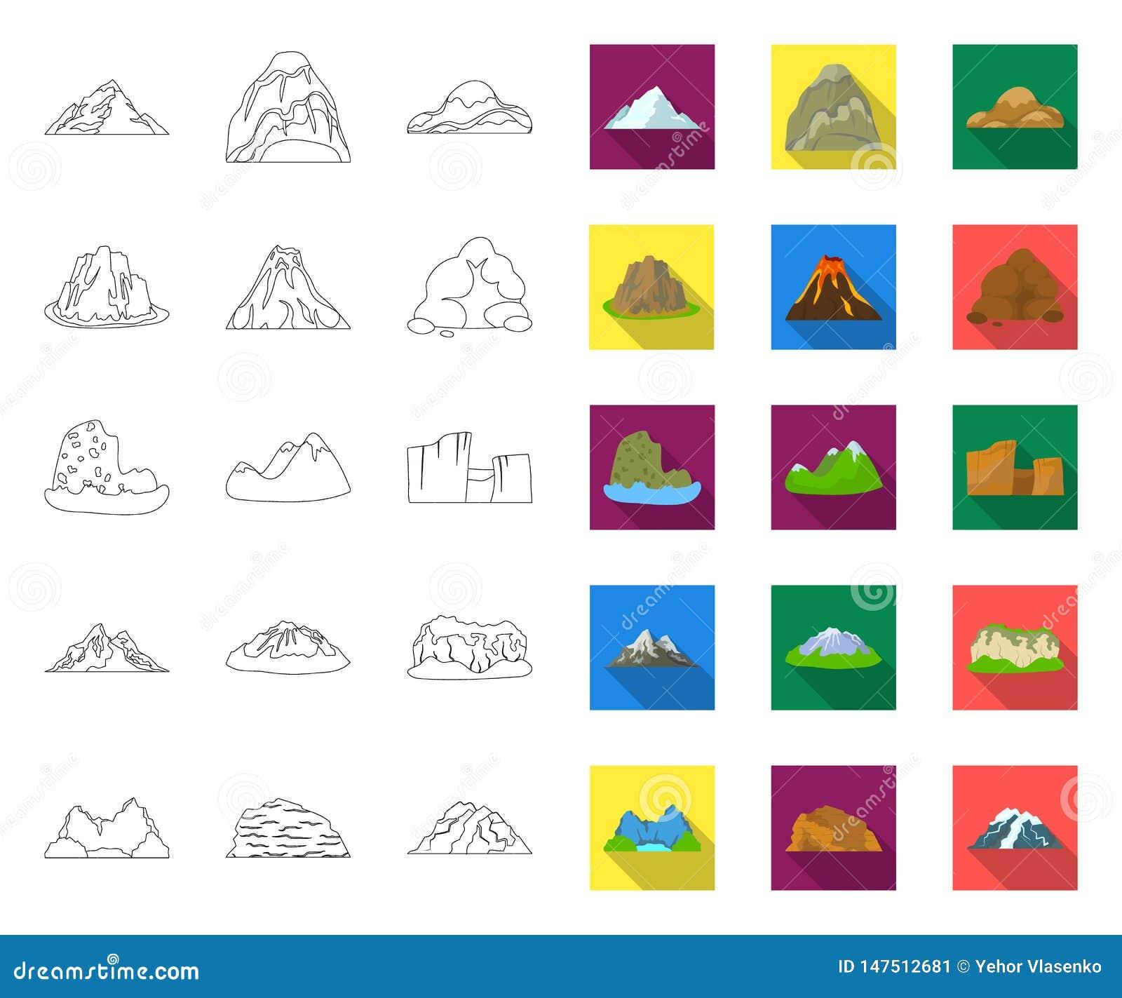 Olik bergöversikt, plana symboler i den fastställda samlingen för design Berg och reng?ringsduk f?r materiel f?r landskapvektorsy