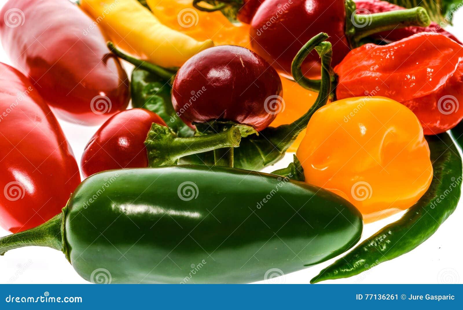 Olik variation av varma peppar eller chilies som isoleras på vit