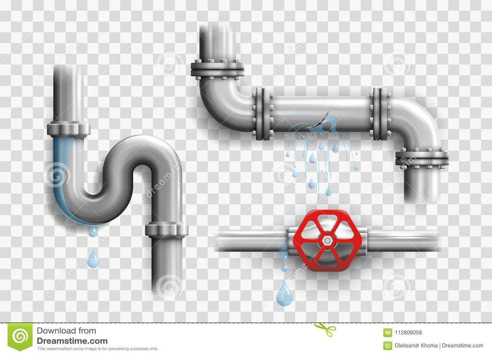 Olika brutna metallrör och läcka rörledningbeståndsdelar