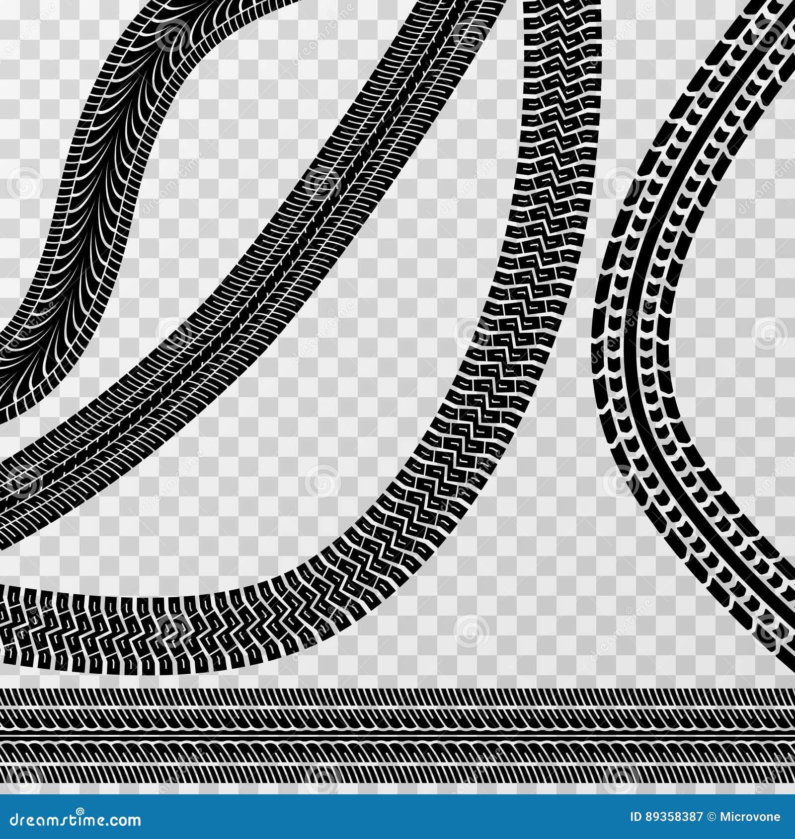 Olika gummihjulbil- och cykelspår på rutig bakgrund - vektormateriel