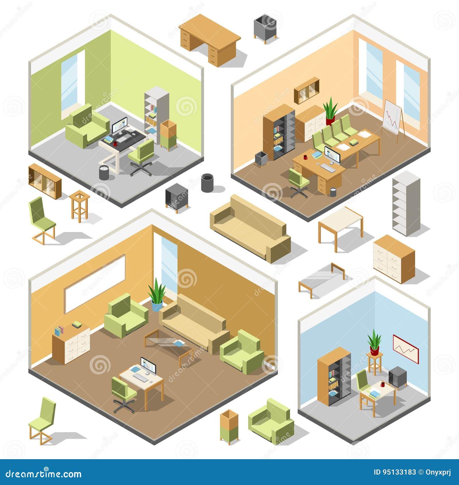 Olika isometriska workspaces med sektions- möblemang Arkitektoniskt plan för vektor 3d