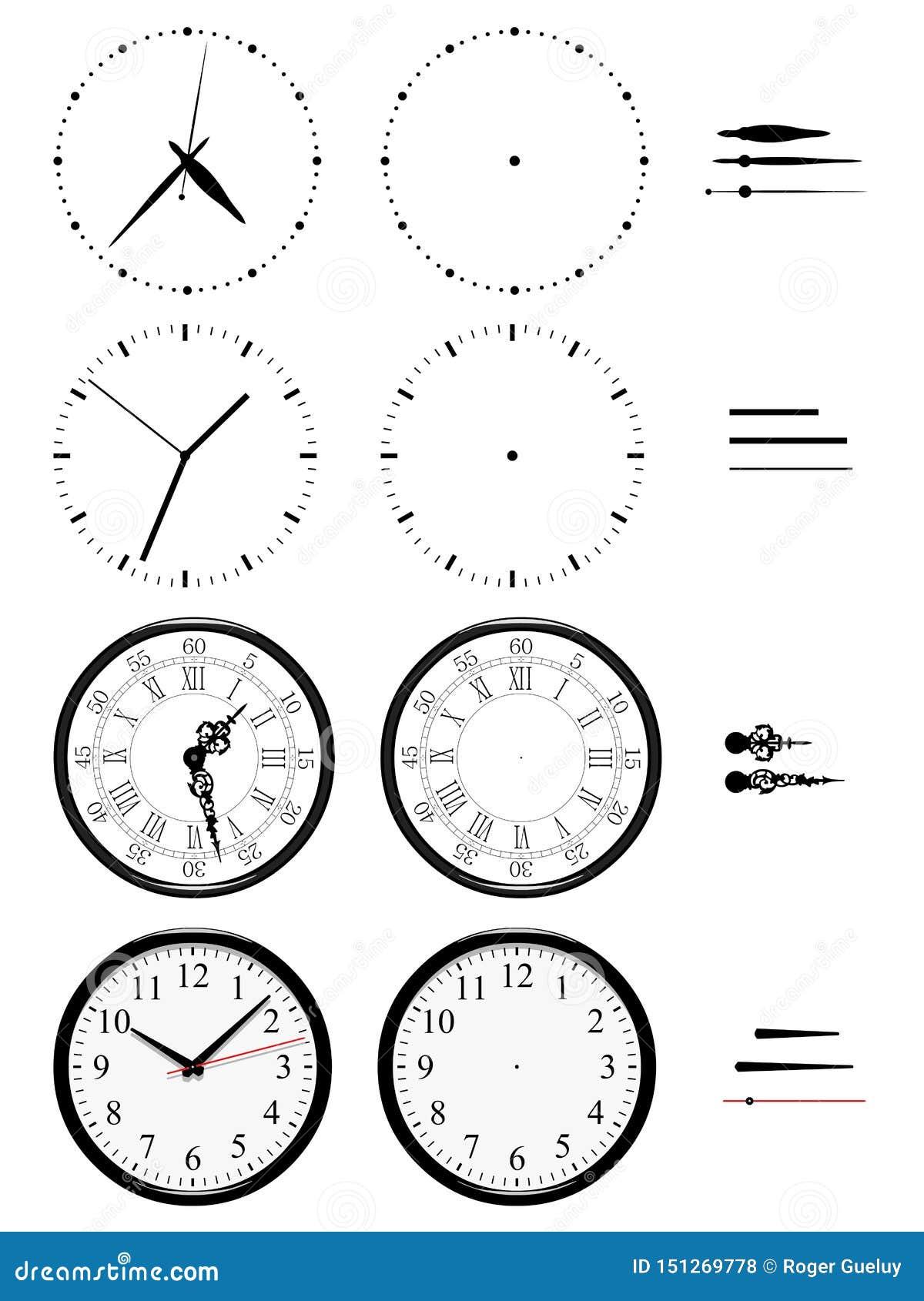 Olika klockor av stilar på vit bakgrund