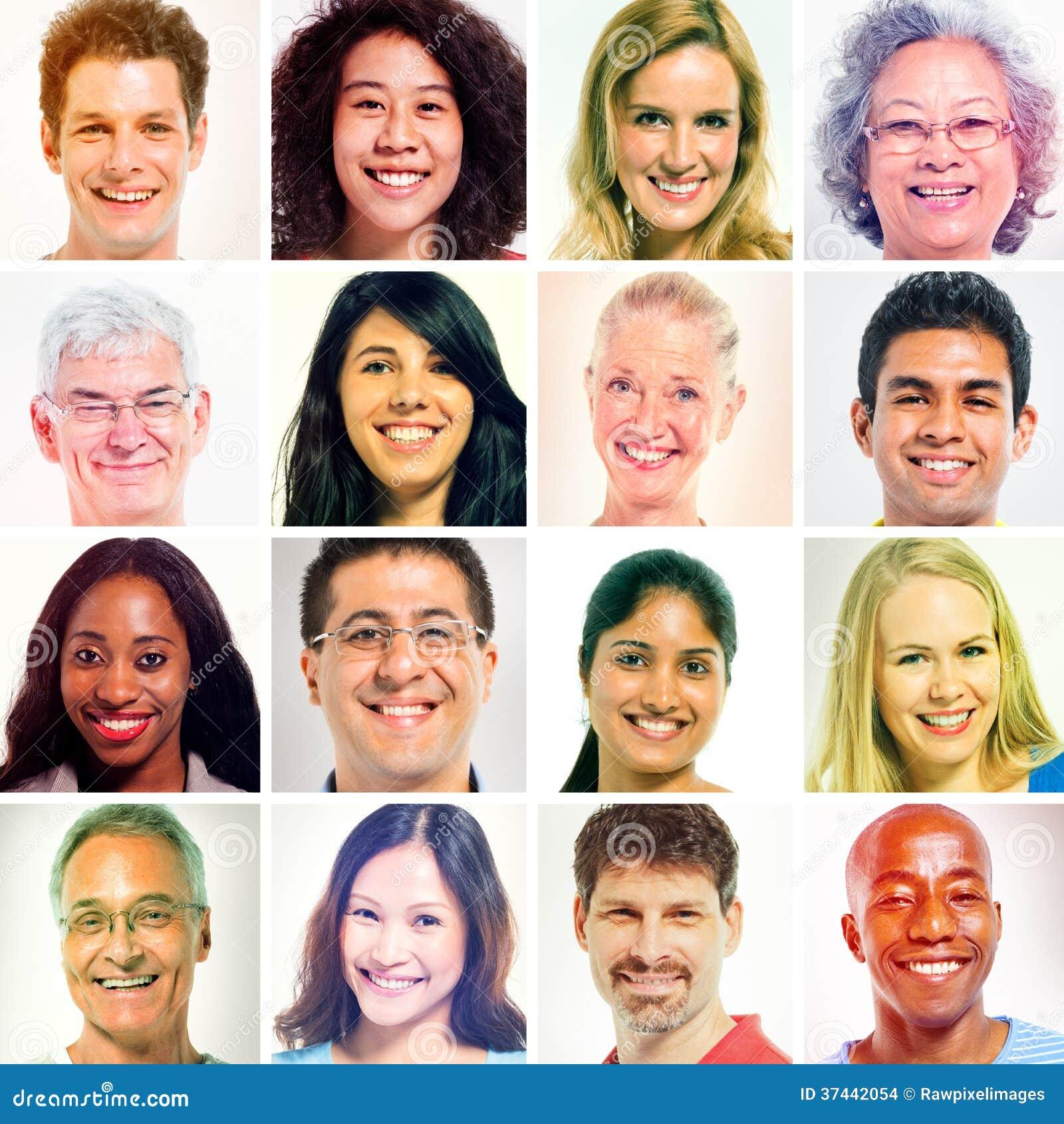 16 Olika Personer I Sepiaskugga Arkivfoto Bild Av