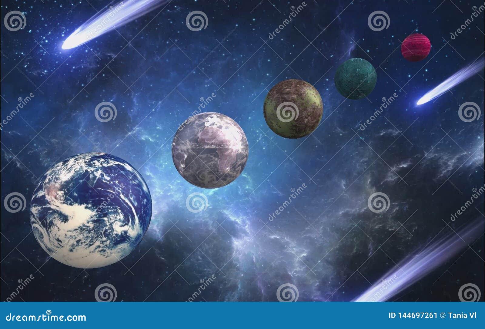 Olika planeter i universumet i formatet 3d