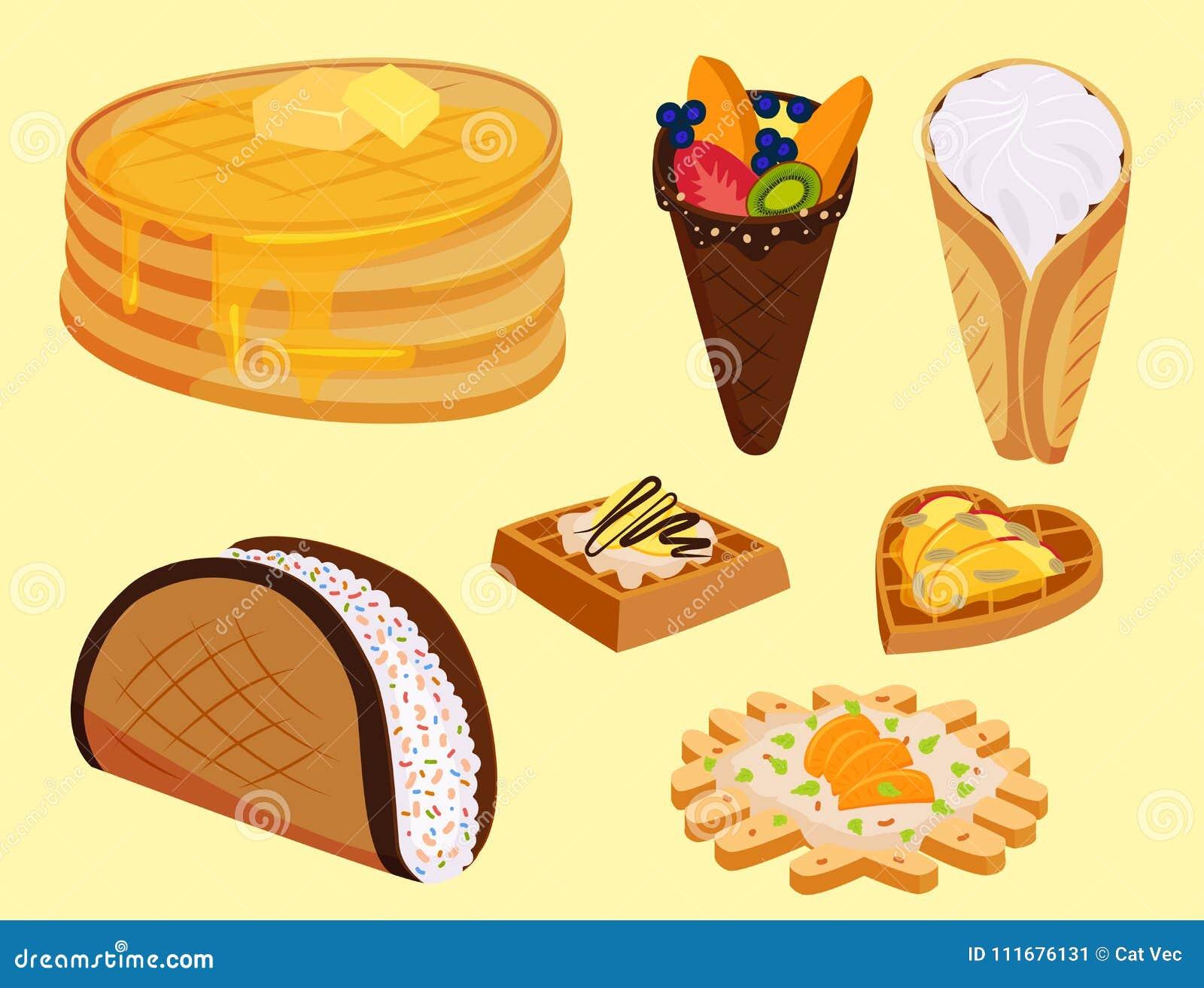 Olika rånkakor svamlar vektorn för mat för bagerit för den kräm- efterrätten för mellanmålet för kakabakelsekakan den ljusbruna l