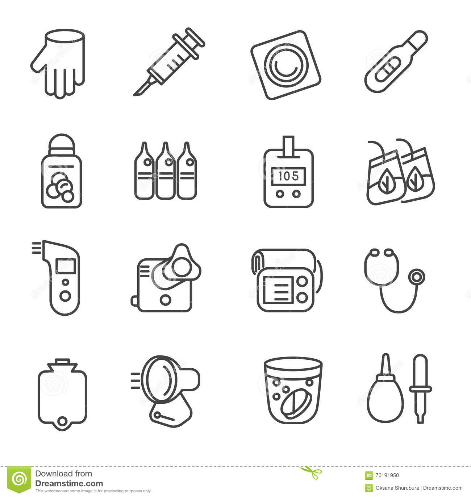 Olika typer av mediciner och medicinska hjälpmedel som linjen symboler