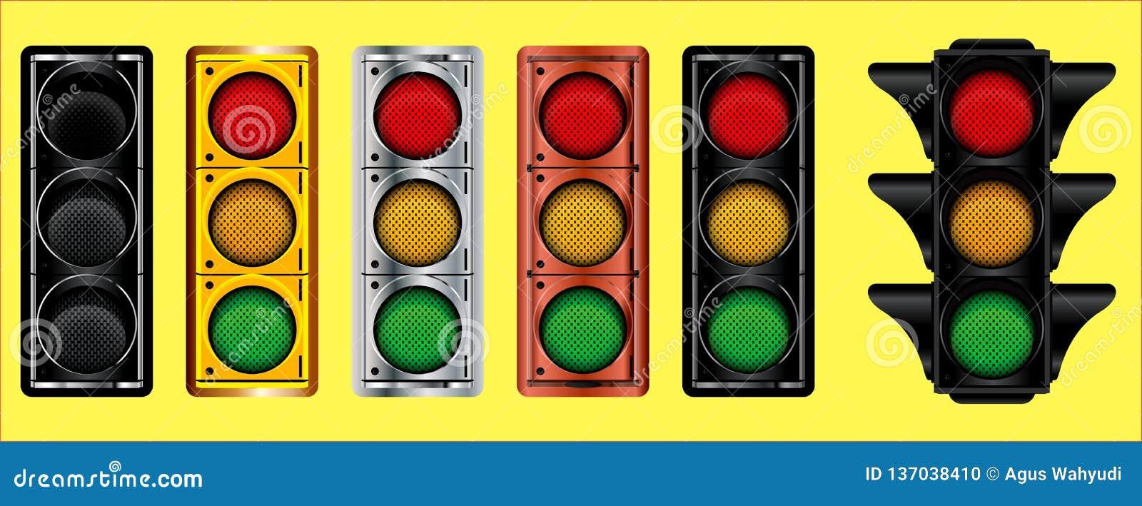 Olikt av trafikljusdesignguld, brons, silver, mörk metall