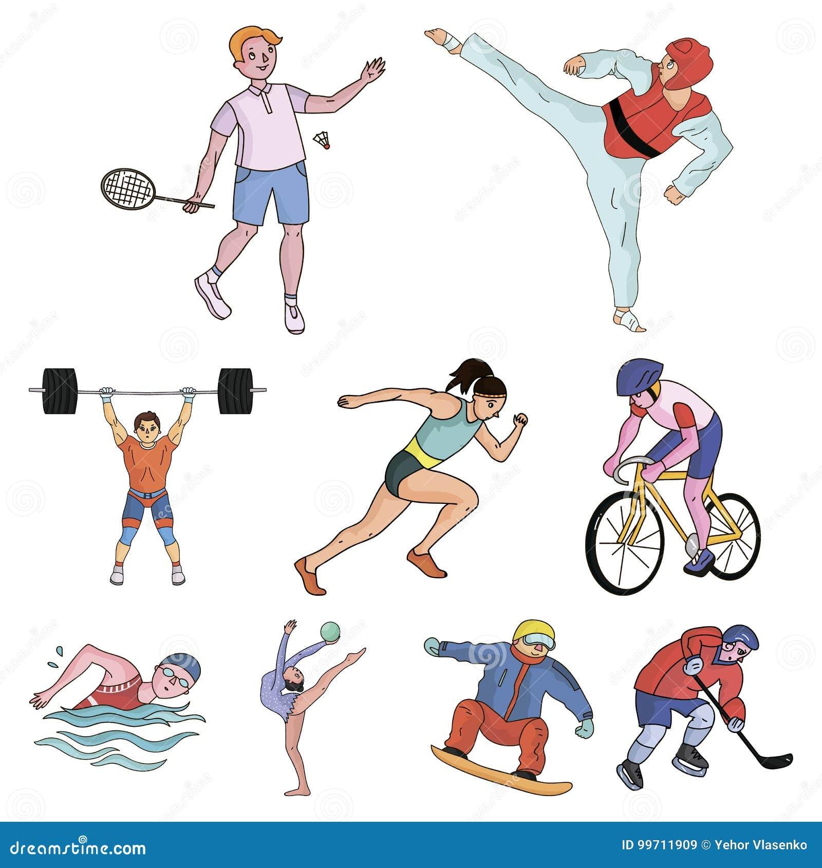 Olimpijscy Sporty Zimy I Lata Sporty Set Obrazki O Atletach