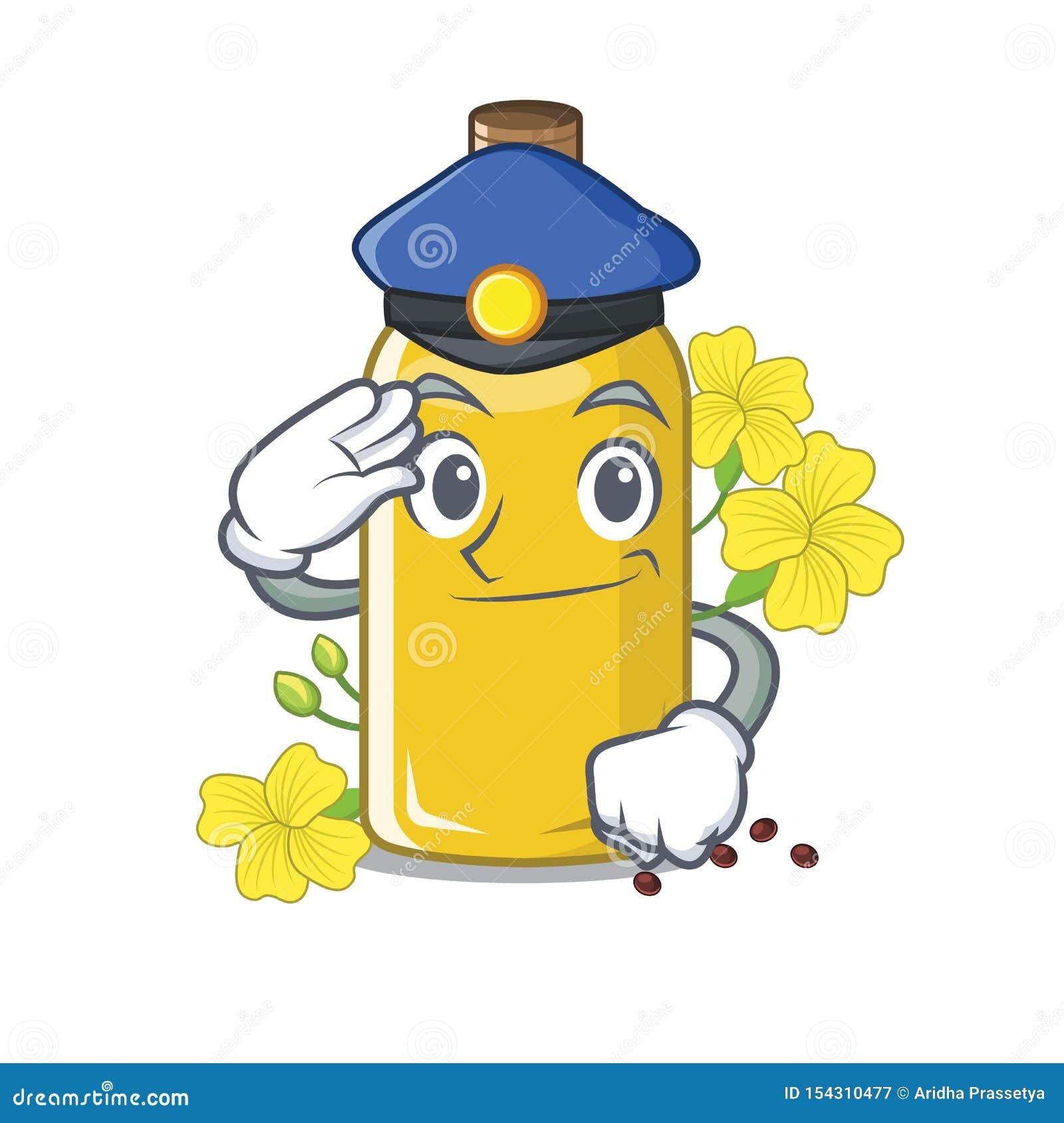 Olio del canola della polizia isolato con il fumetto