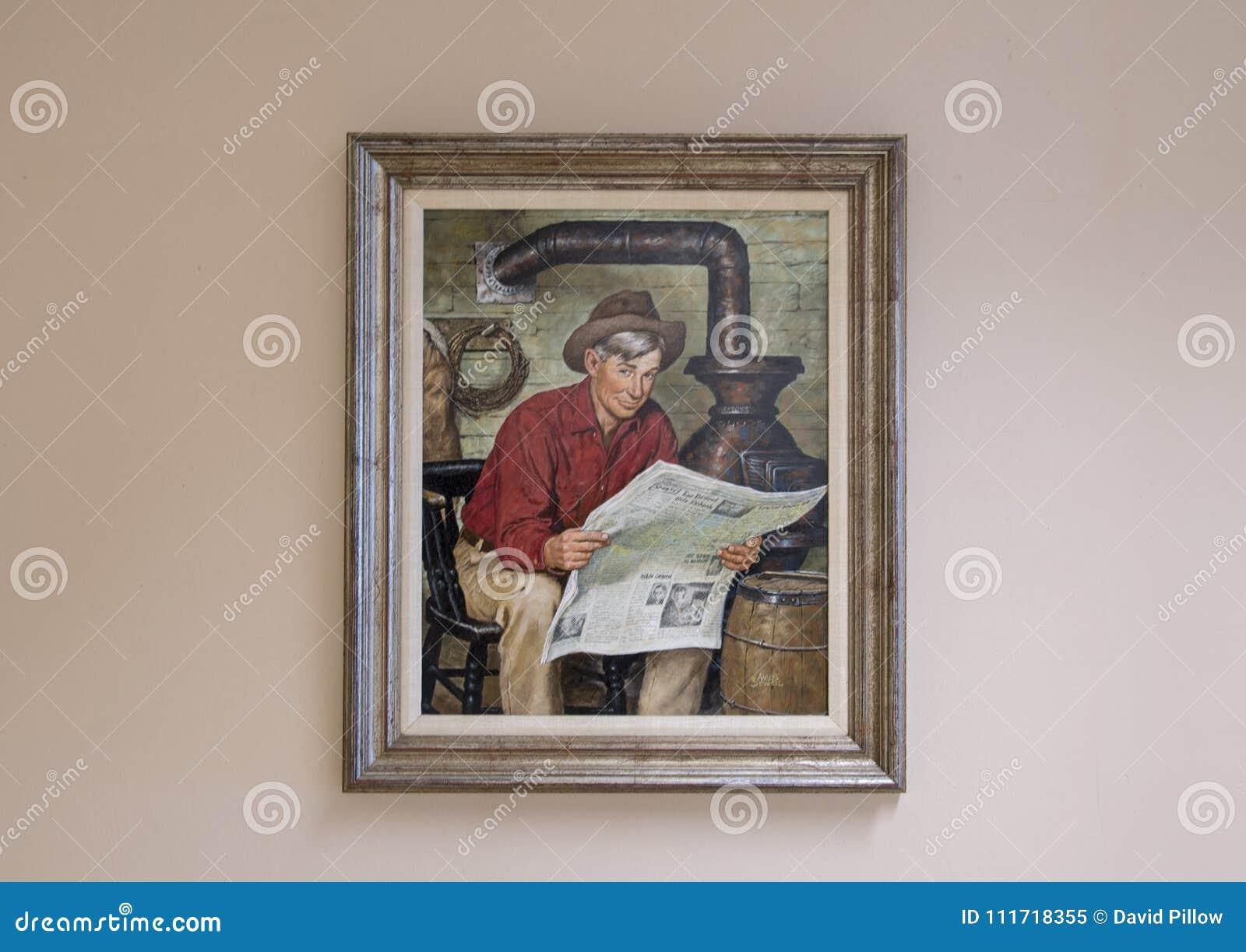 Olio di Will Rogers sulla pittura della tela, Claremore, Oklahoma