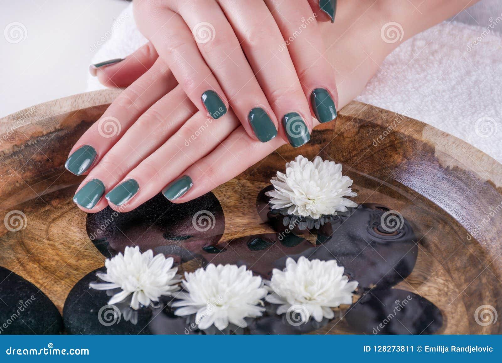 Olive Color Gel Nails Polish Manicure On Girl Hands Above