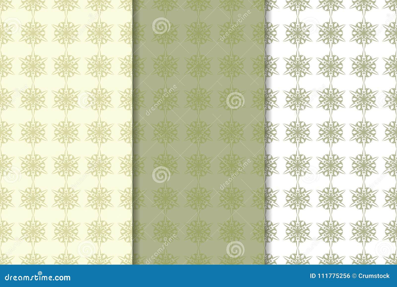 Olive green floral designs. Set of seamless patterns
