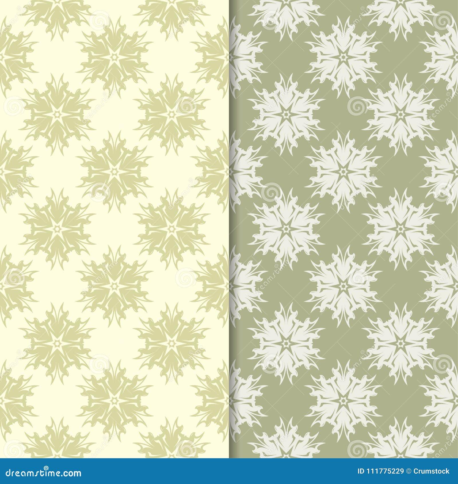 Olive green floral ornamental backgrounds. Set of seamless patterns