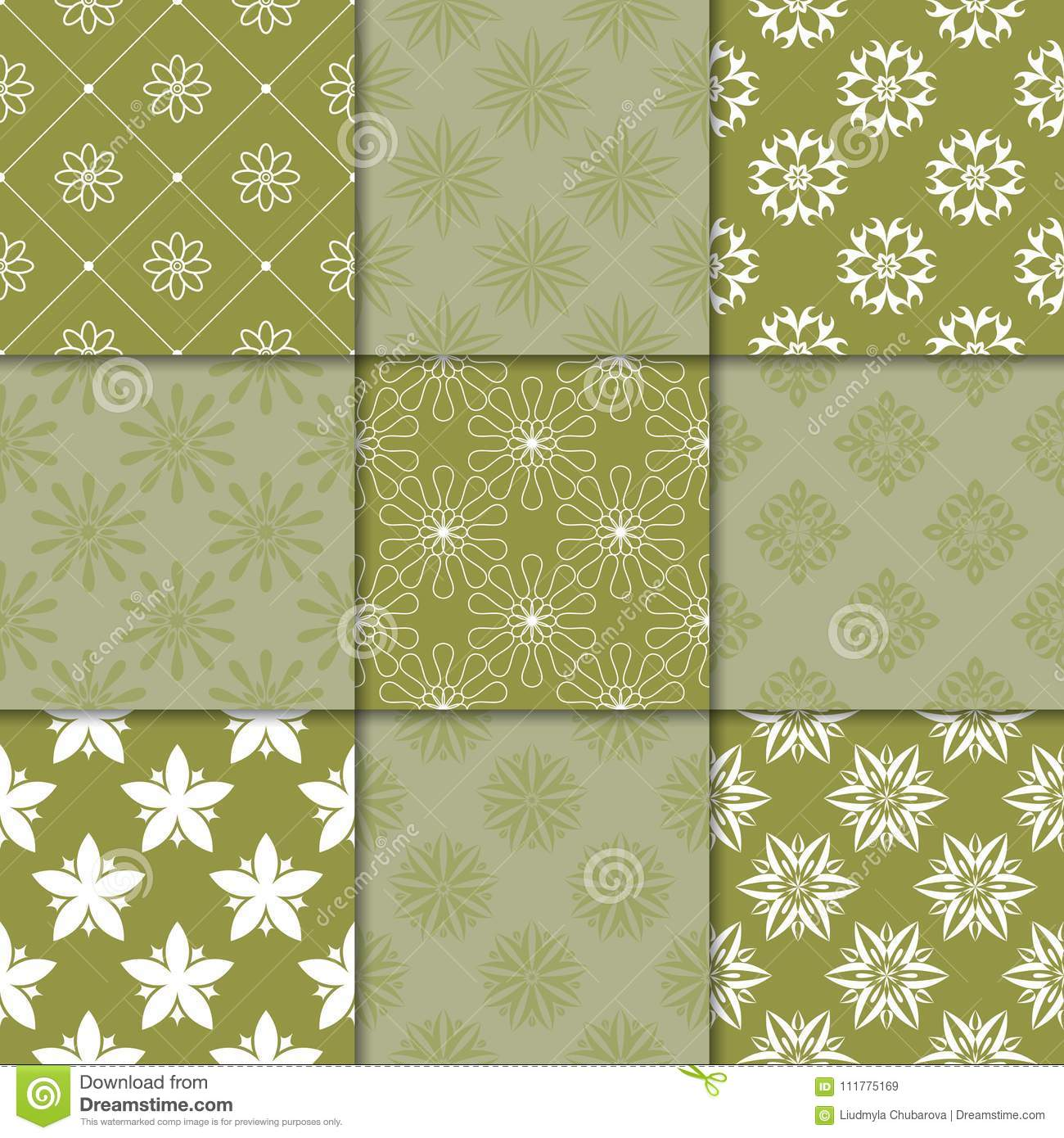 Olive green floral ornaments. Collection of seamless patterns
