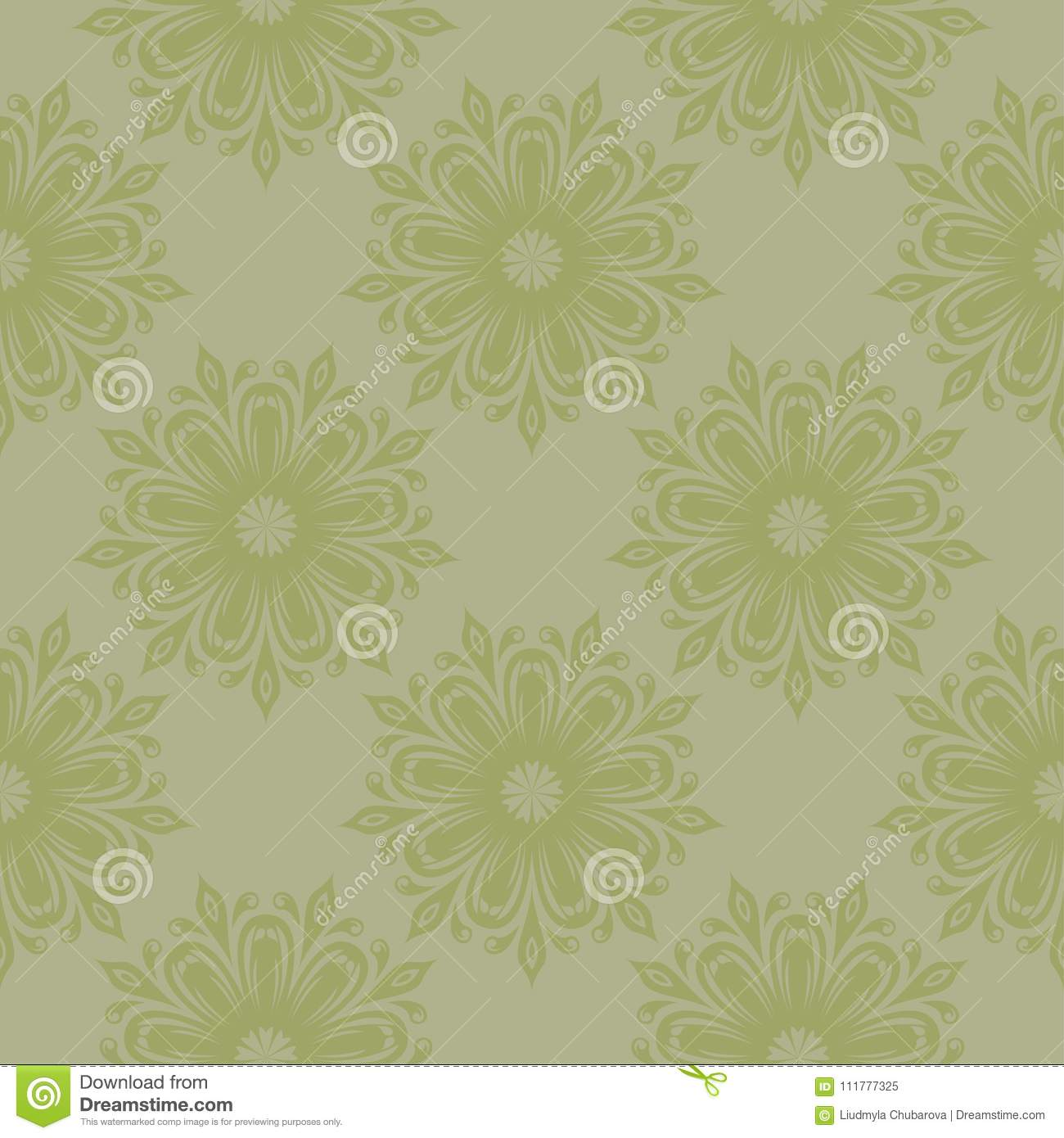 Olive green floral seamless pattern. Ornamental background