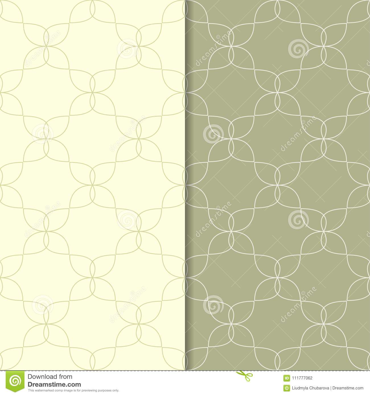 Olive green geometric ornaments. Set of seamless patterns