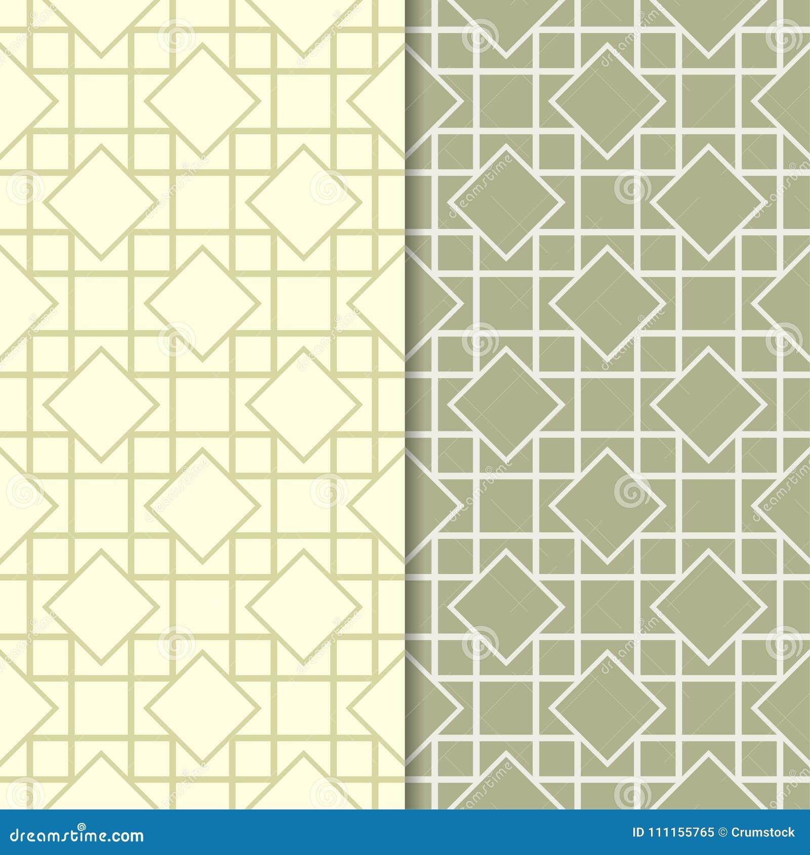 Olive green set of seamless geometric patterns
