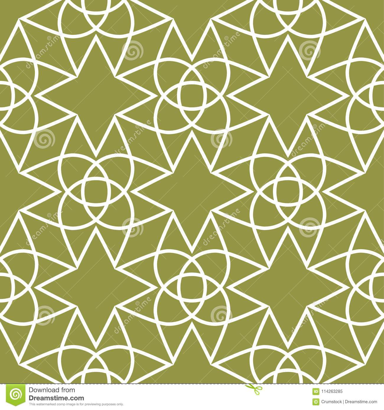 Olive green and white geometric ornament. Seamless pattern