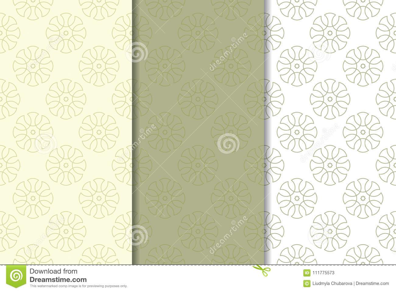 Olive green and white geometric ornaments. Set of seamless patterns