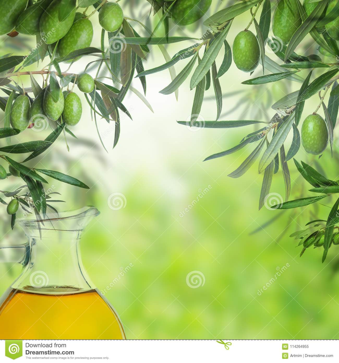 Olive Oil Bottle And Green Olive Tree Leaves Stock Image Image Of