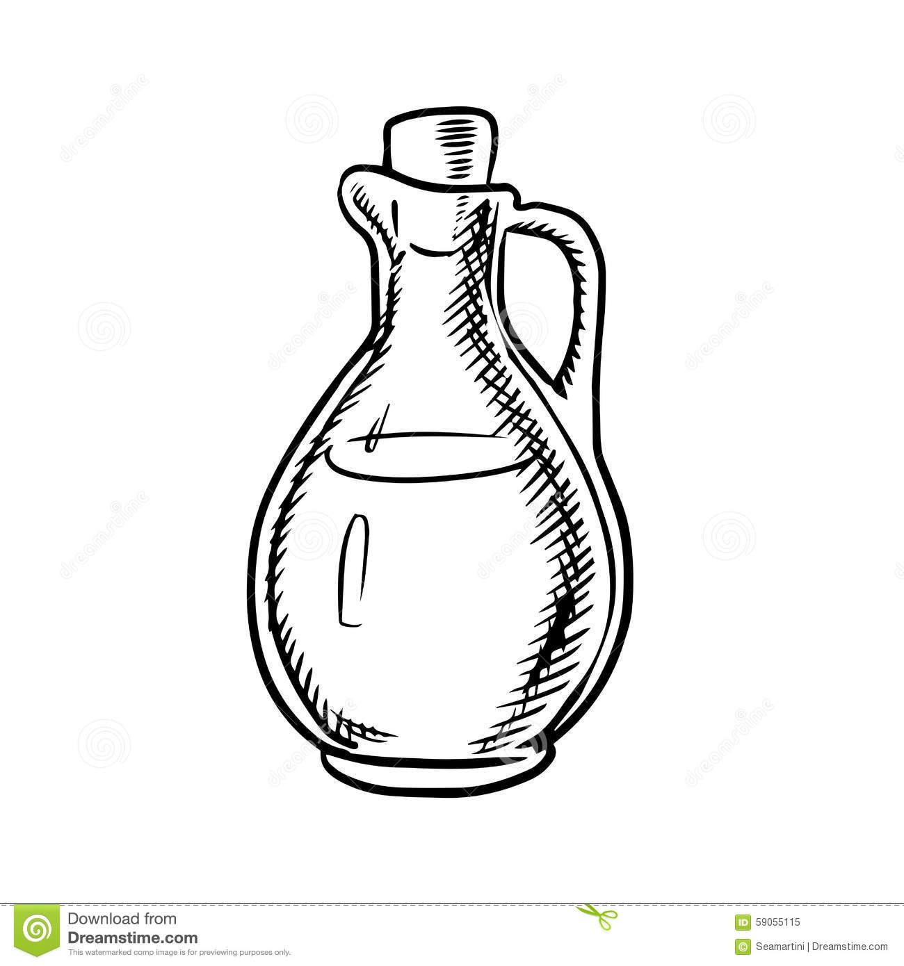 Olive Oil Bottle Sketch With Handle And Cork Stock Vector ...