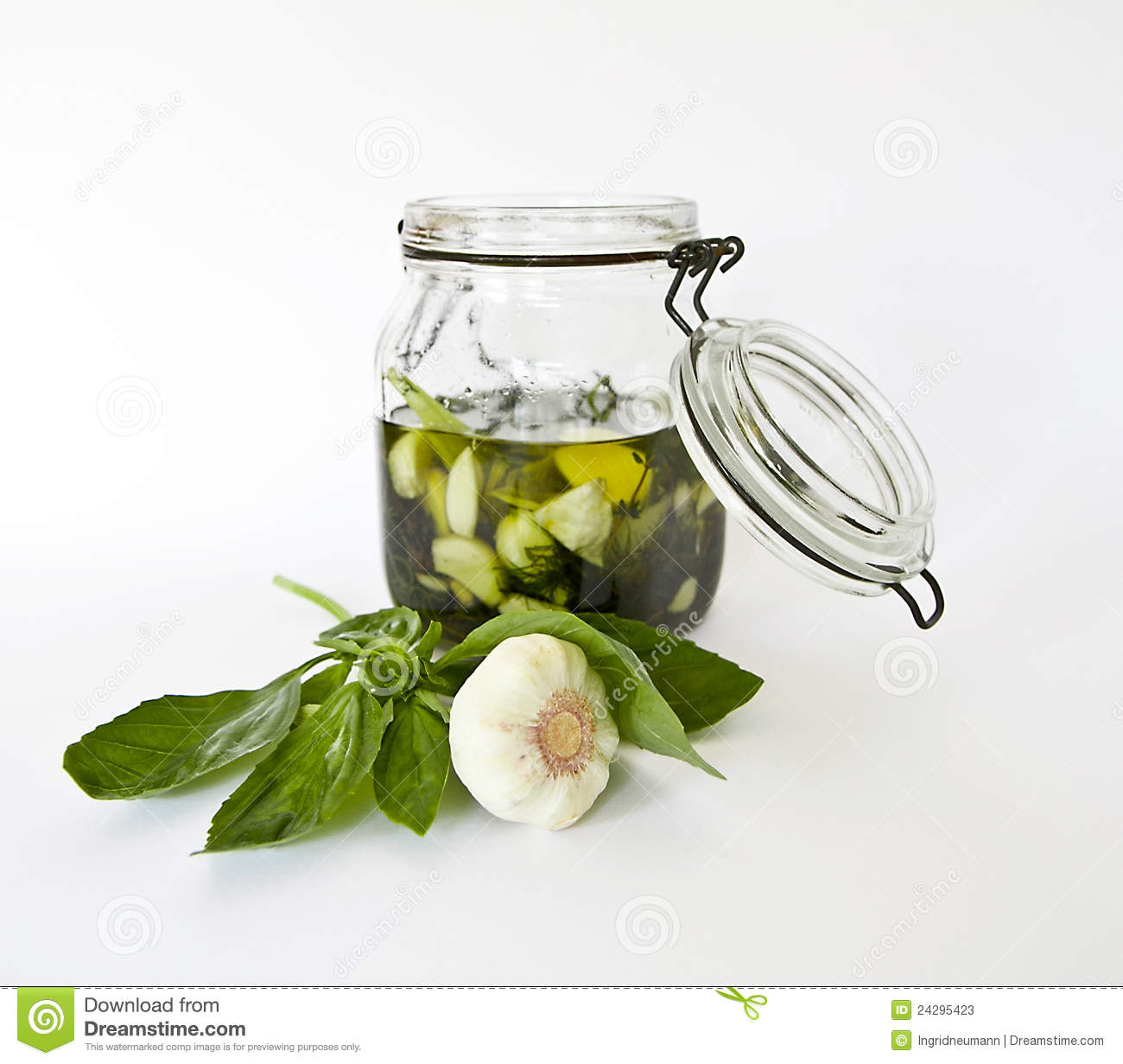 More similar stock images of ` Olive oil with fresh herbs and garlic `