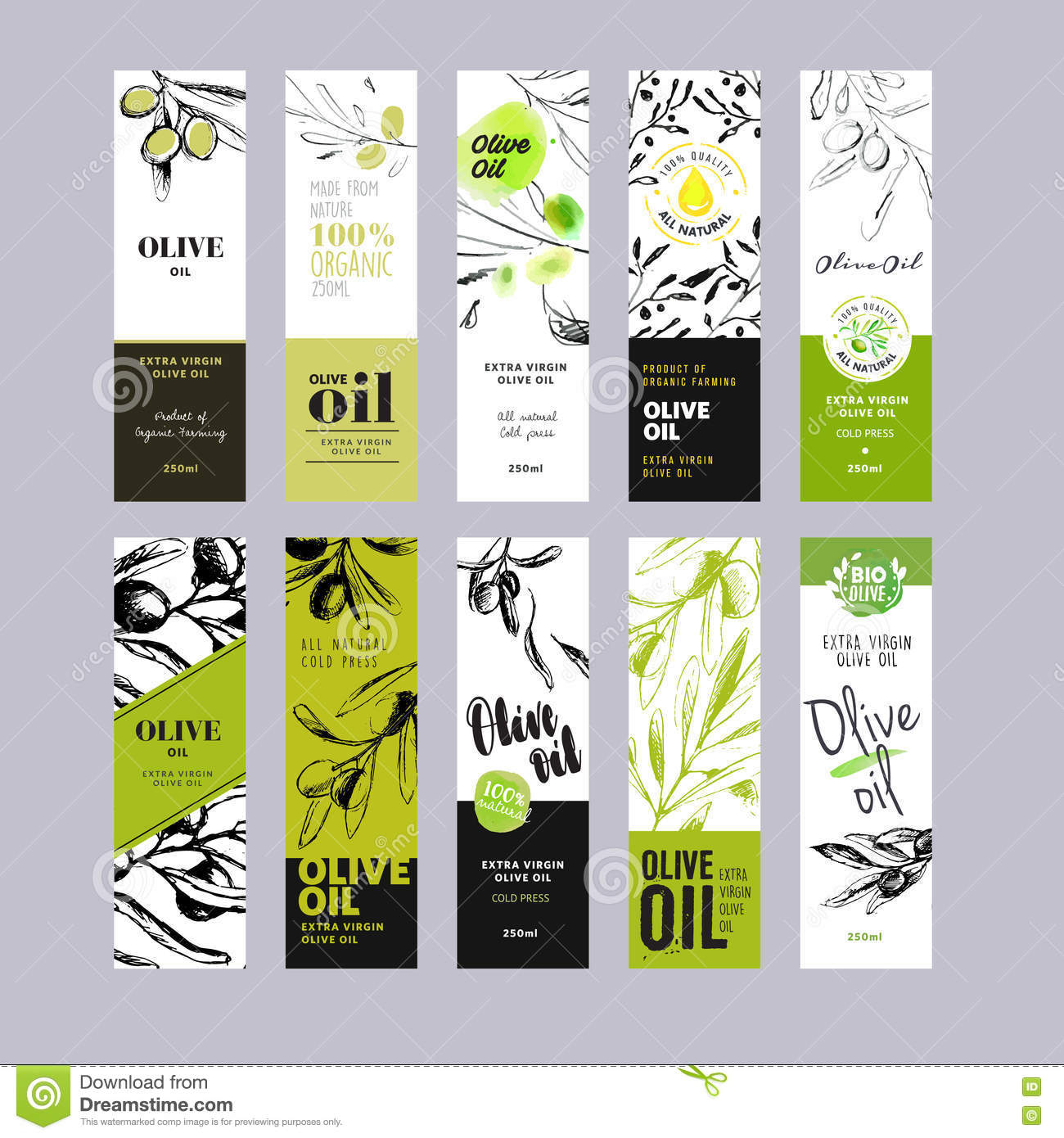 Olive Oil Labels Collection Stock Vector - Illustration of ...